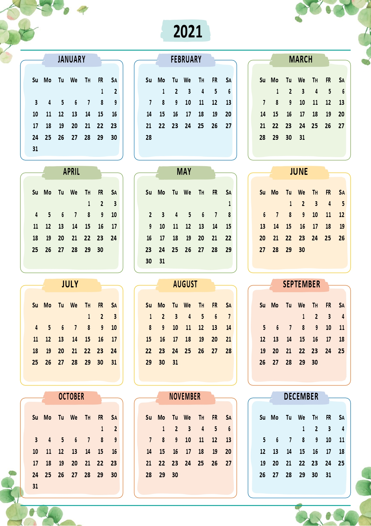 2021 Yearly Calendar Floral Style