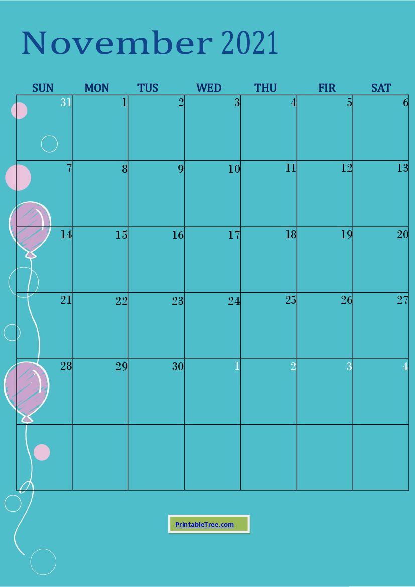 Blue Monthly Birthday Calendar November 2021