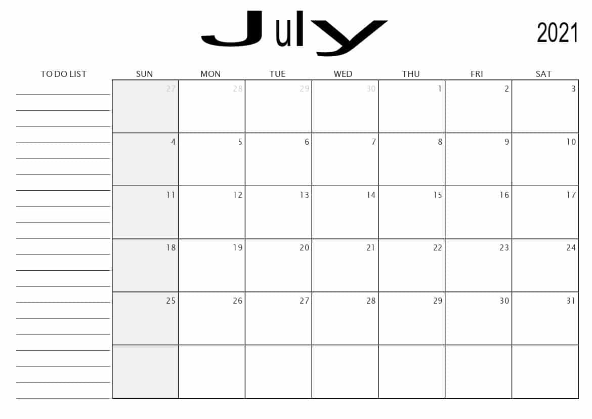 Monthly Calendar with To Do List July 2021