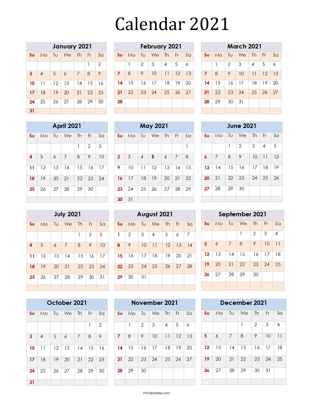 Printable 2021 Blank Calendar Portrait Year Color 2