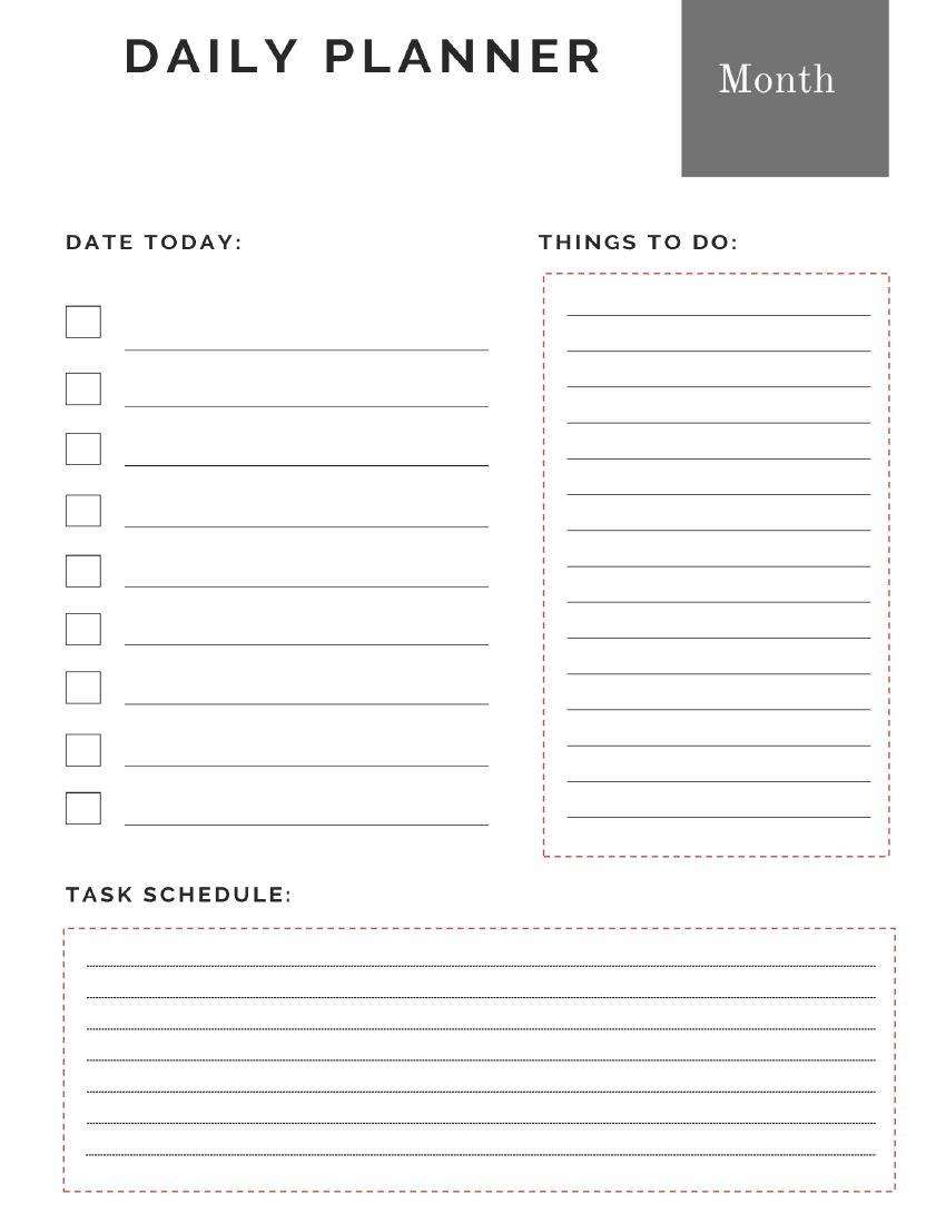 Daily Planner with to do lists
