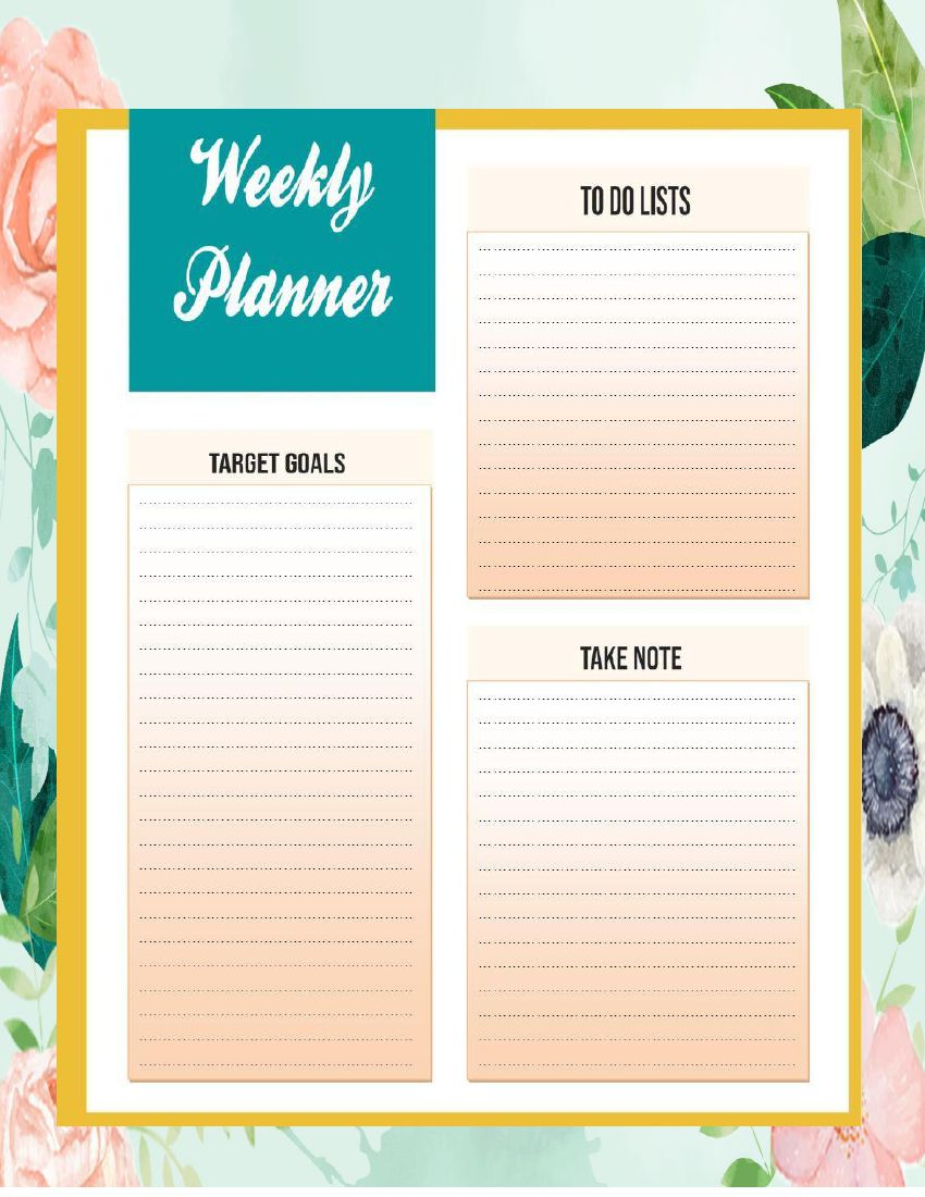 Download and Print Weekly Planner Printable Templates PDF