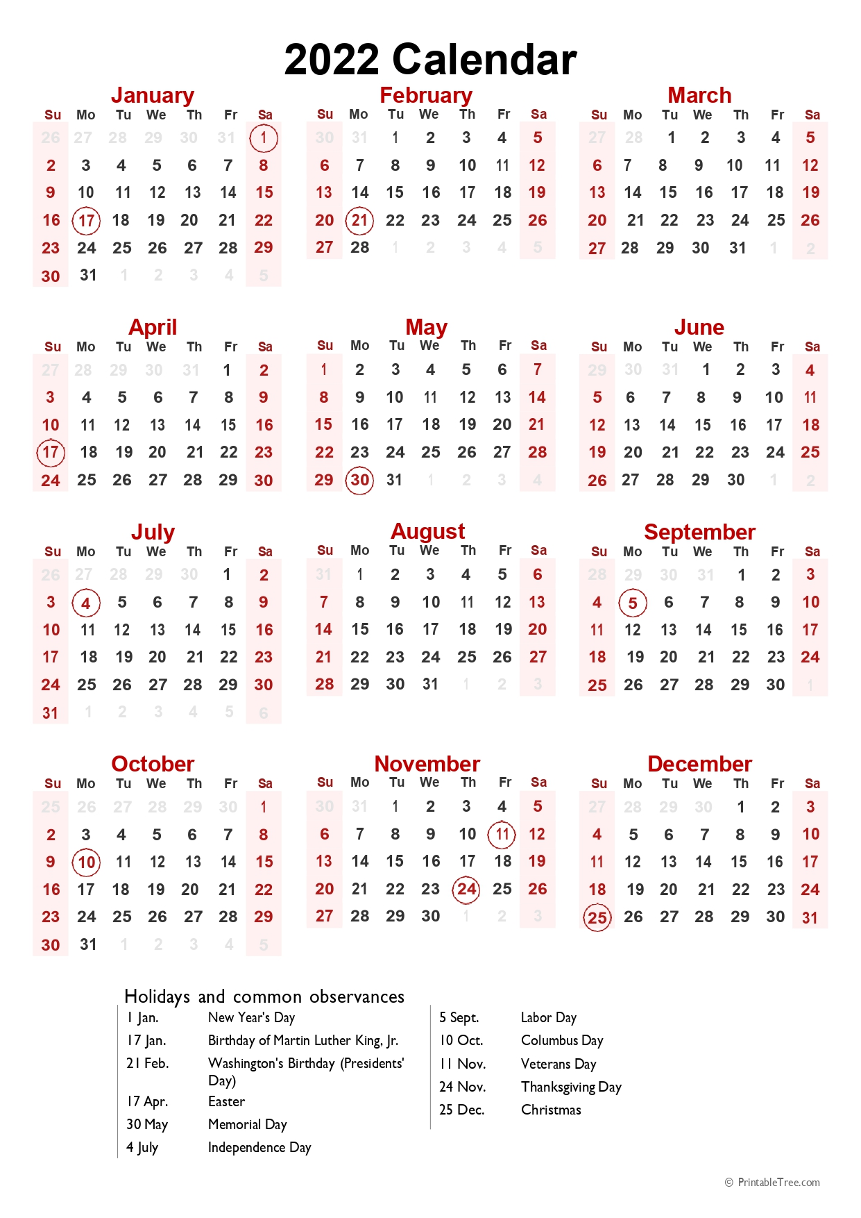 2022 Calendar with US holidays Portrait Format