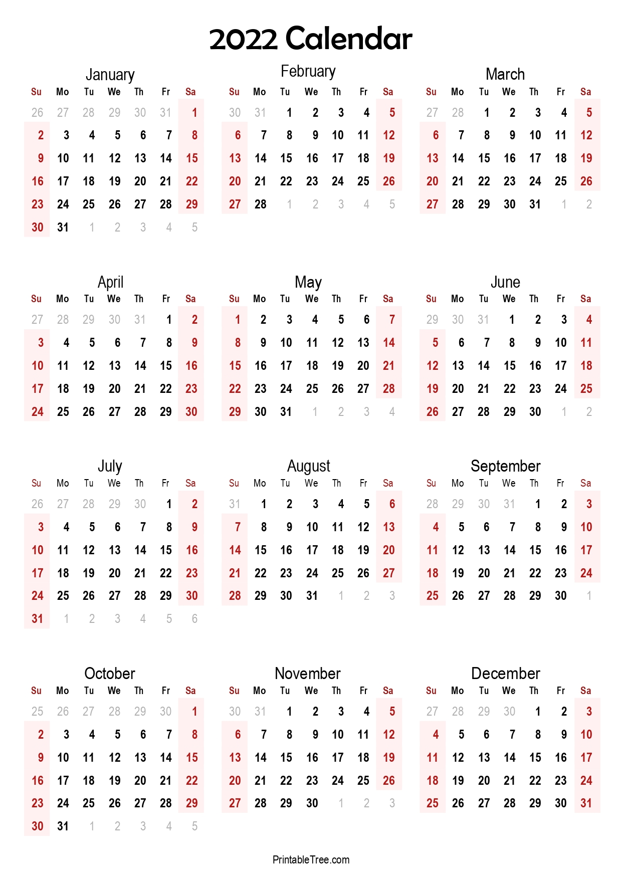 2022 Yearly Calendar Single Page