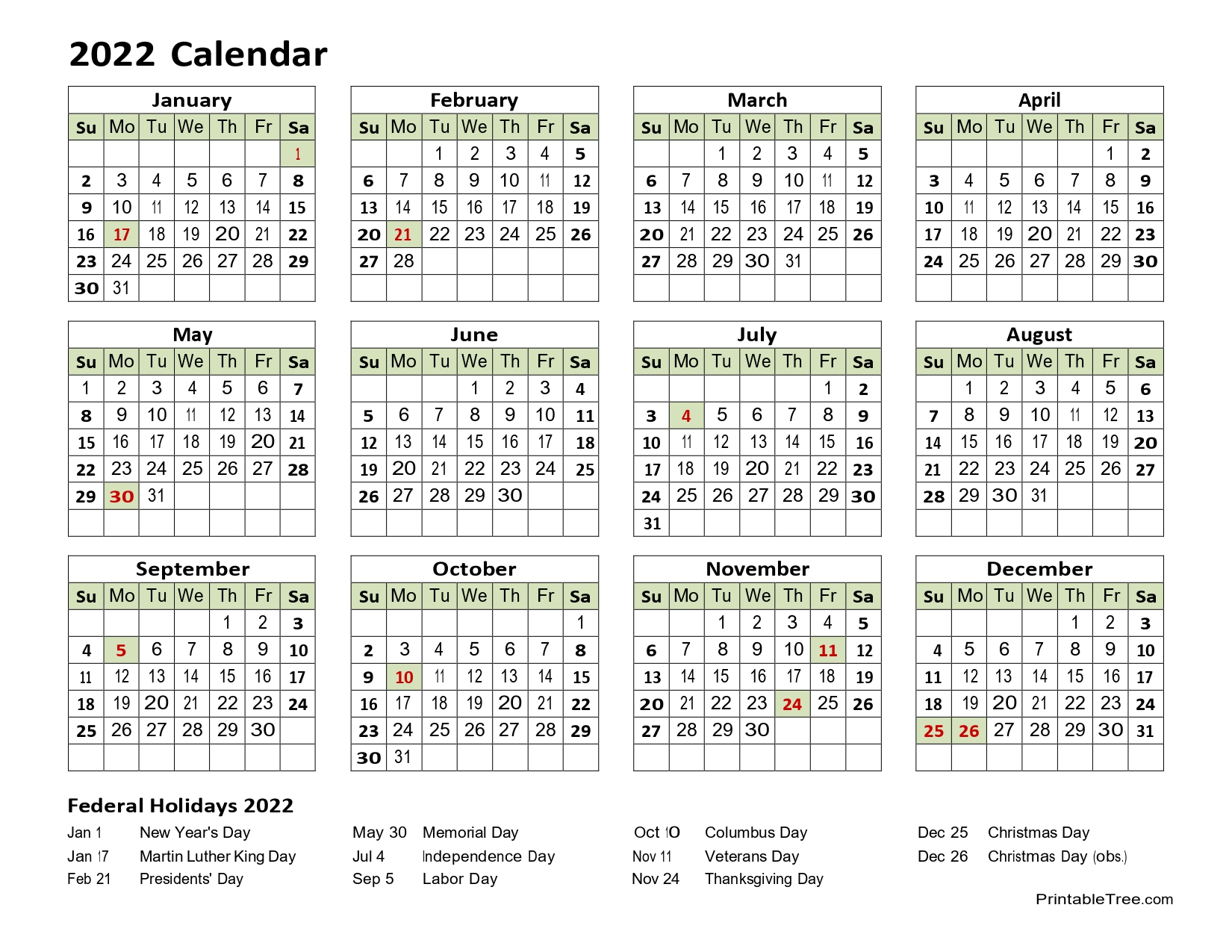 2022 Yearly Calendar one page with holidays