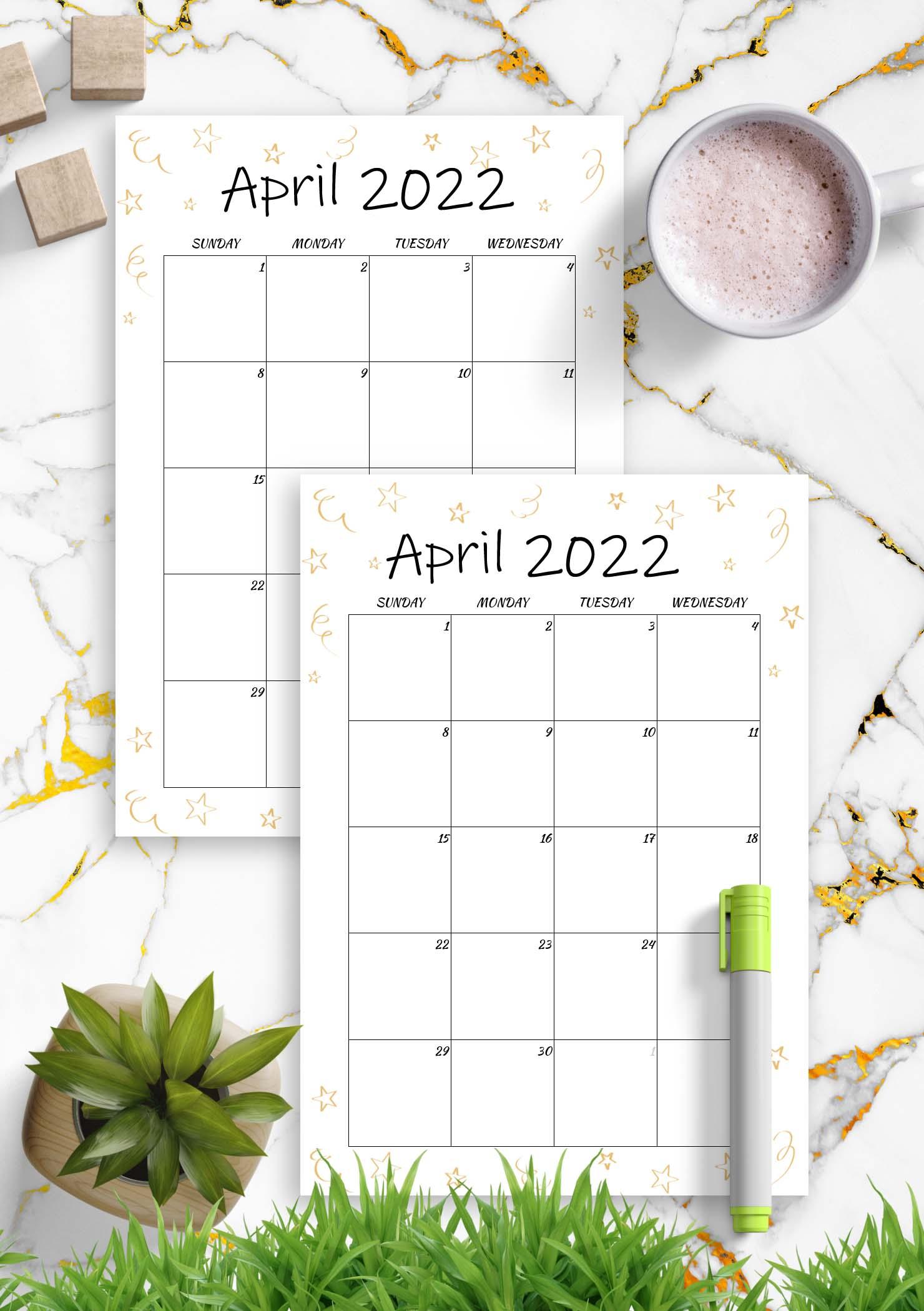 Printable Calendar April 2022 Template
