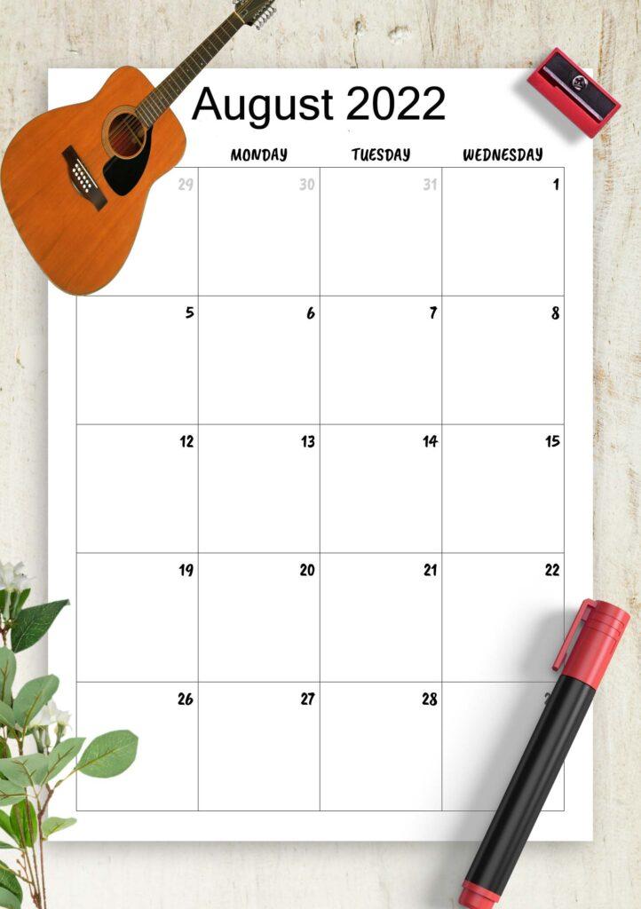 Printable Calendar August 2022 Template