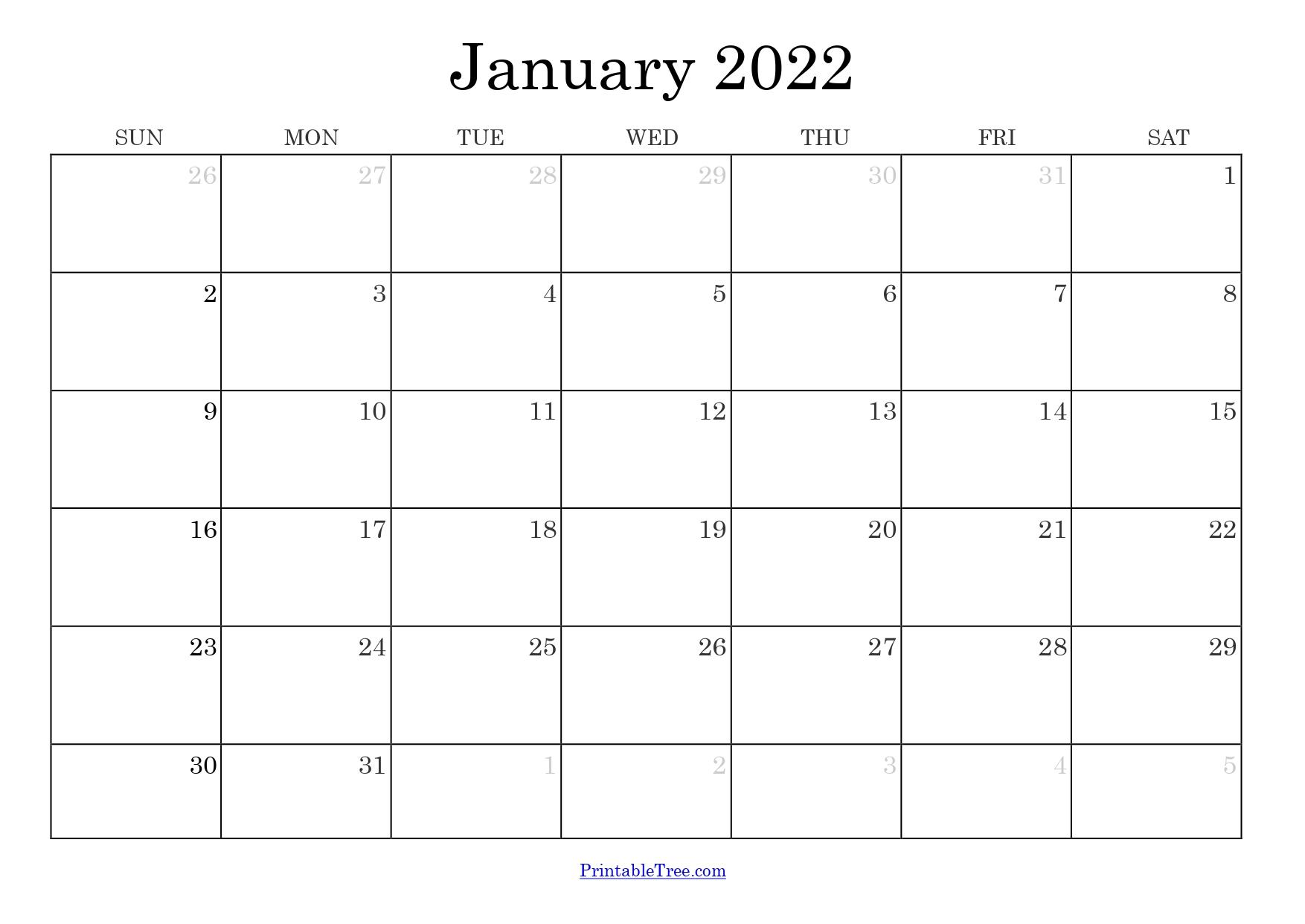 Blank Monthly Calendar January 2022