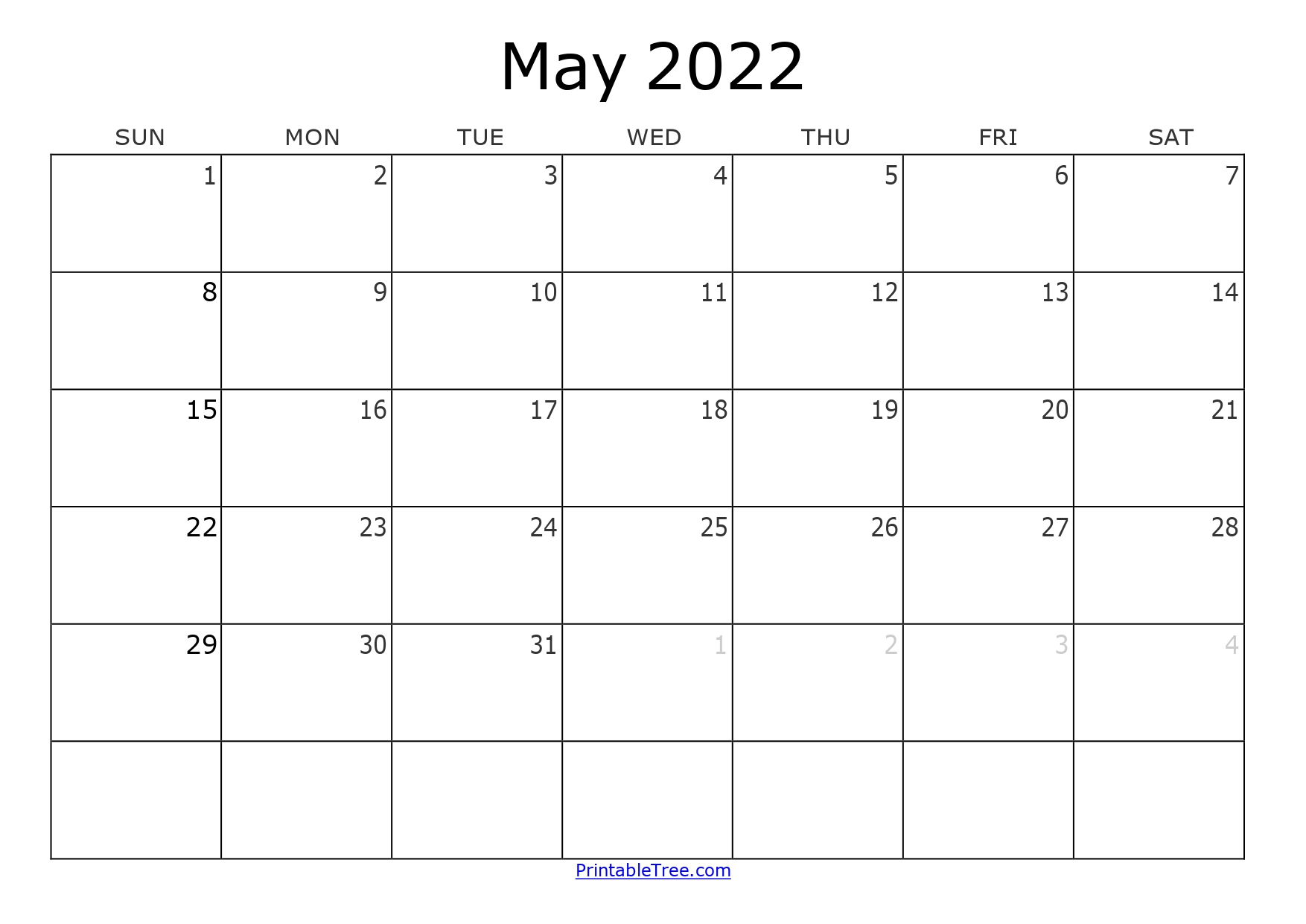 Blank Monthly Calendar May 2022