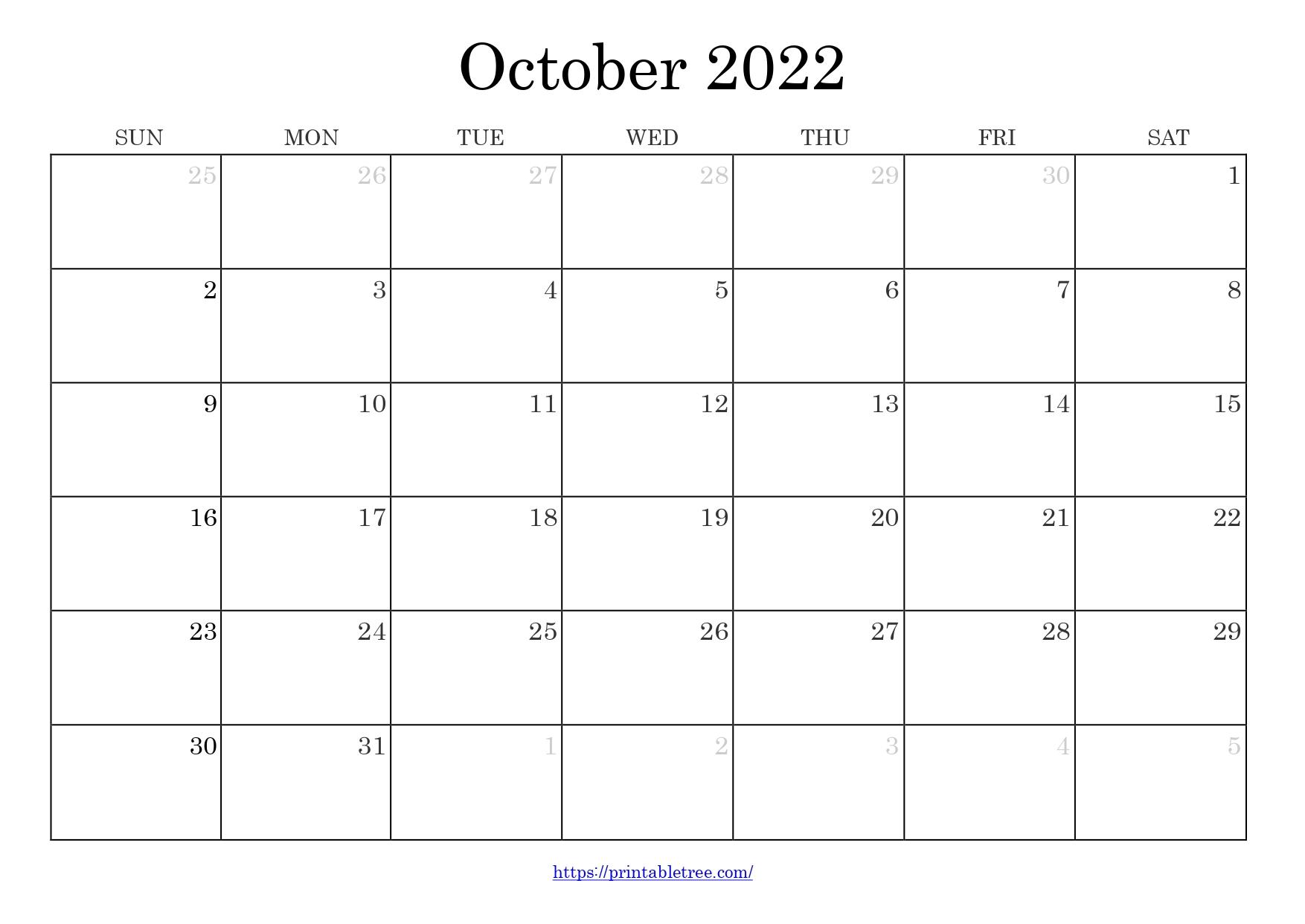 Blank Monthly Calendar October 2022