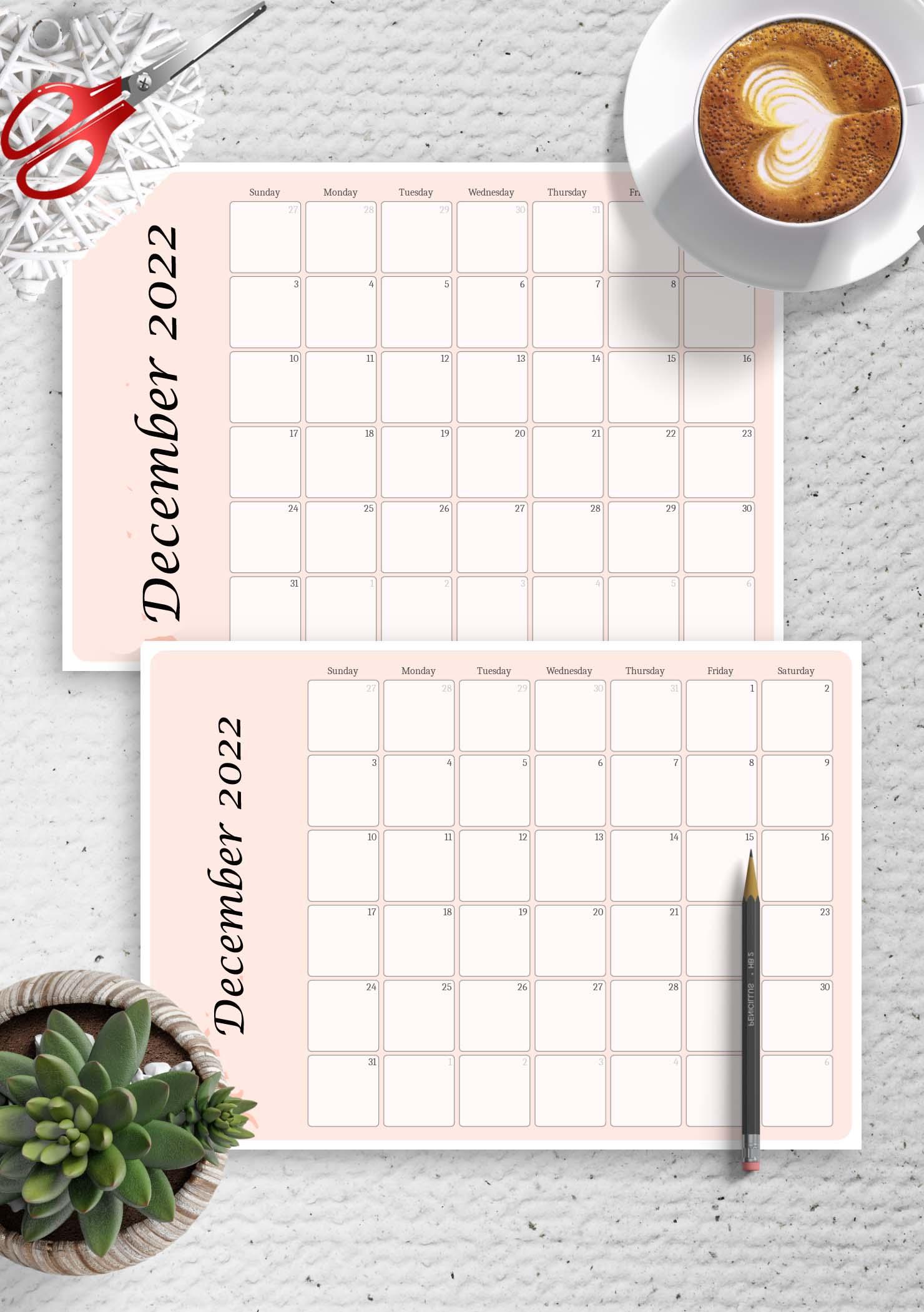 Printable Calendar December 2022 Template