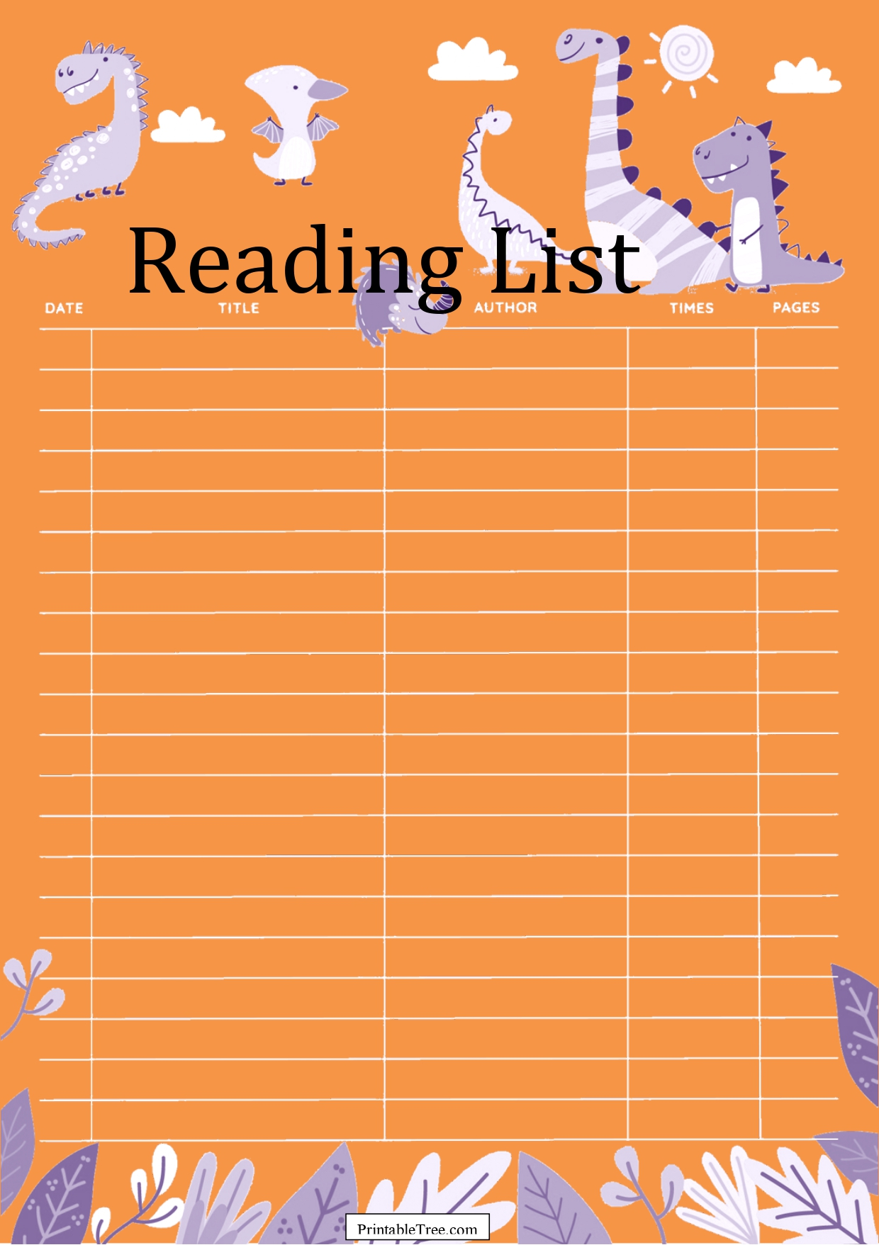 Dinosaurs Reading List Template For Kids