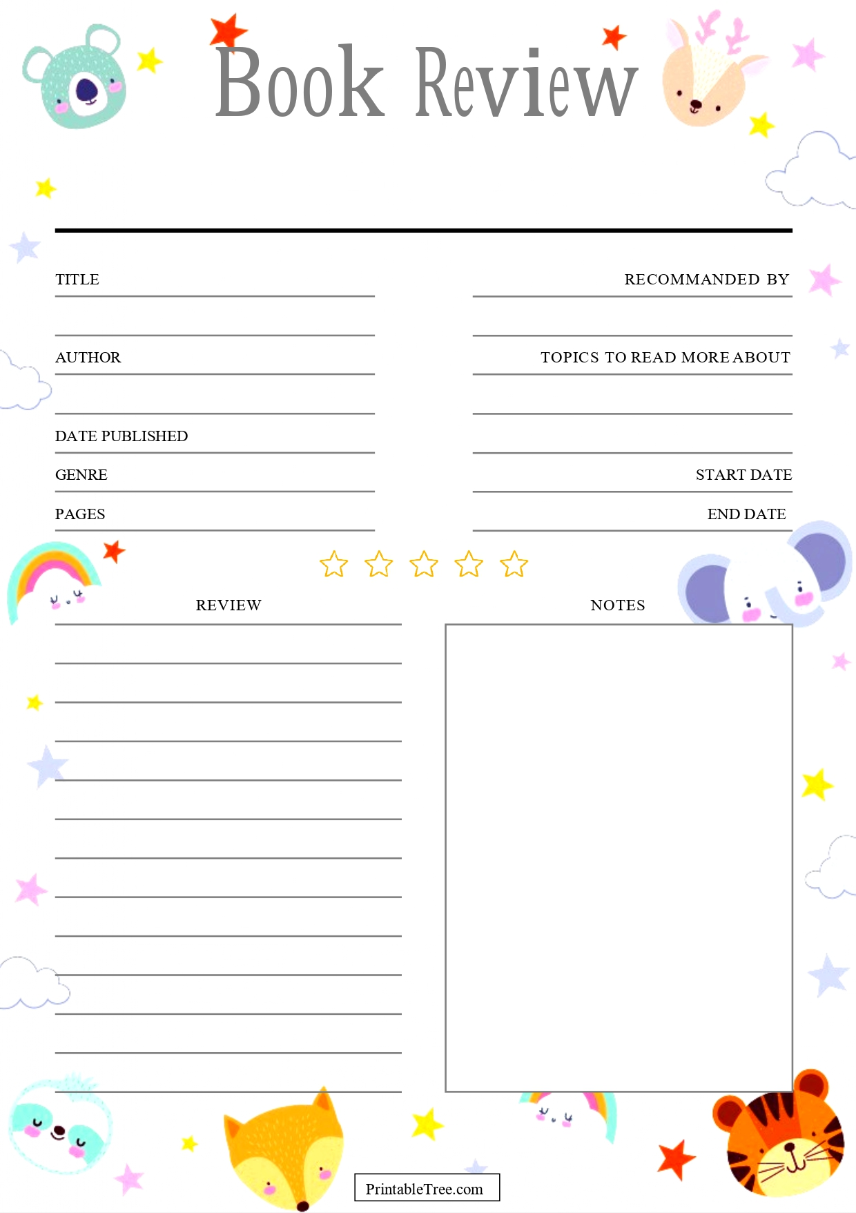 Forest Animals Book Review Template For Kids