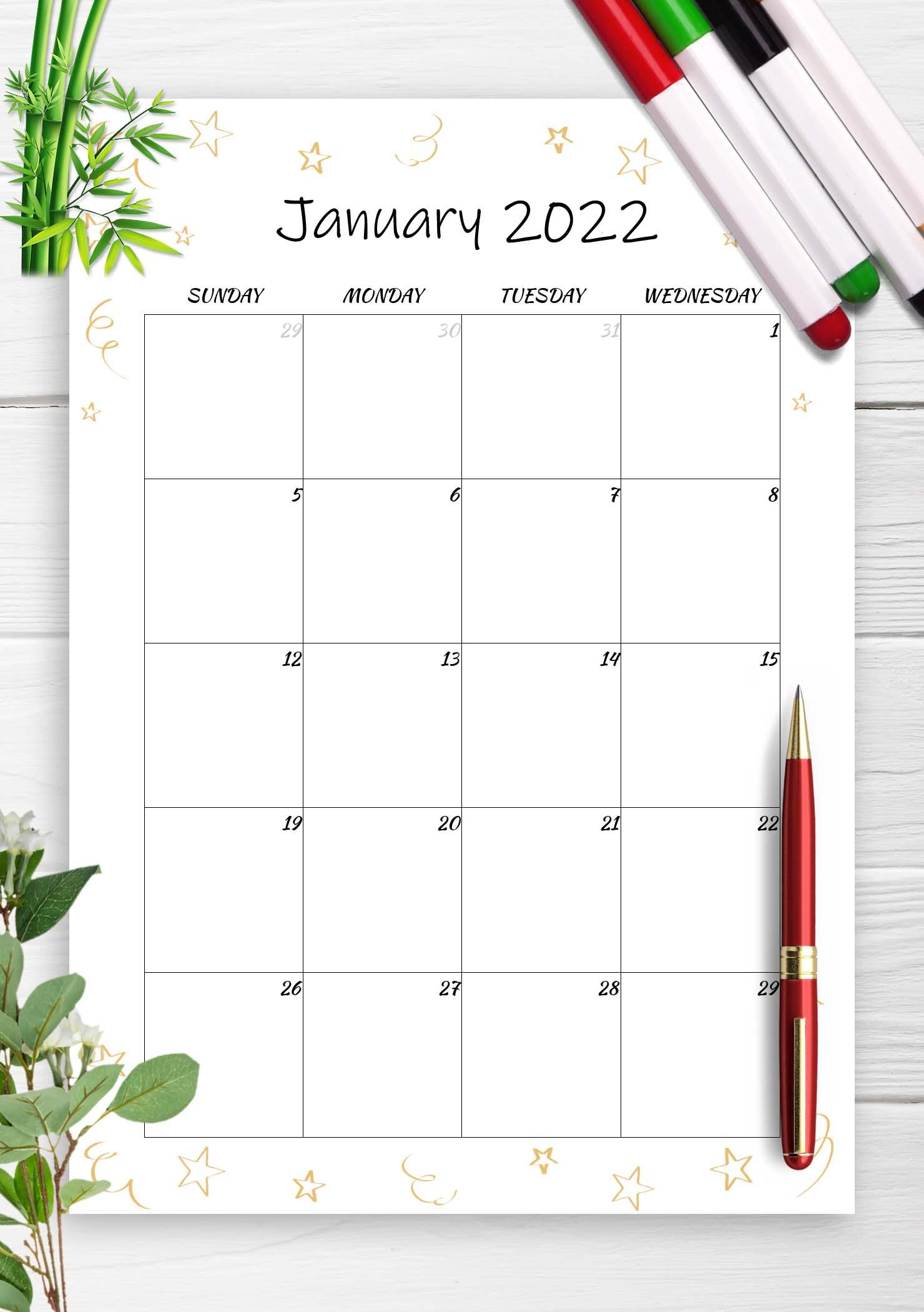 Printable Calendar January 2022 templates