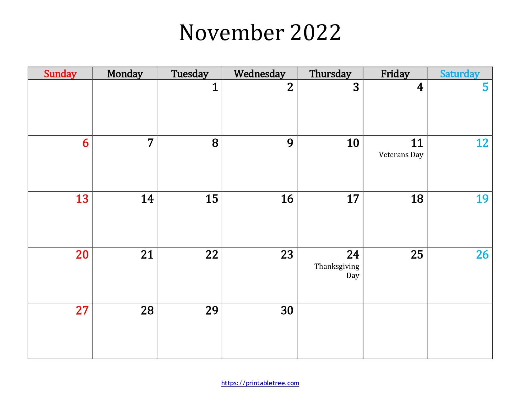 November-2022-Calendar Template
