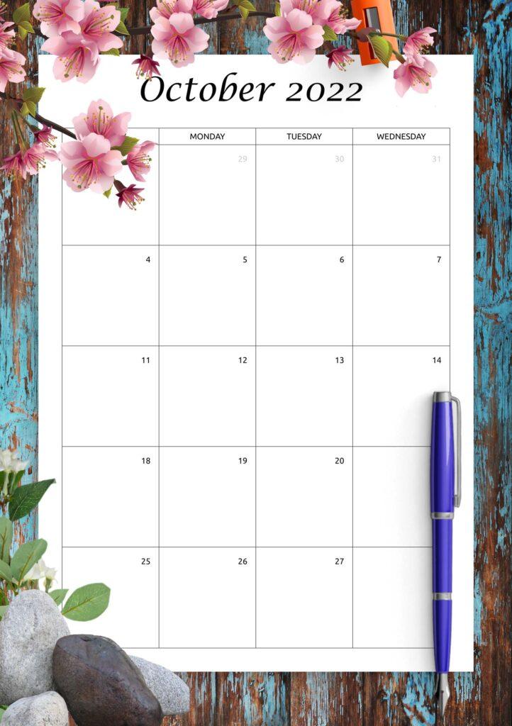 Printable Calendar October 2022 Template