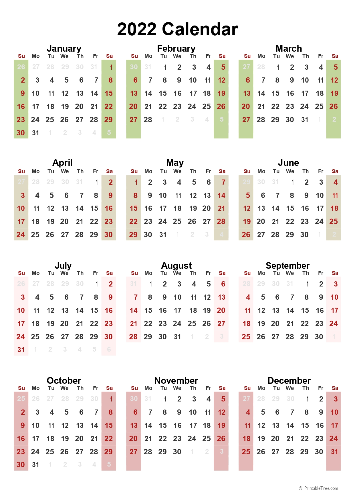One Page 2022 Calendar in portrait Format