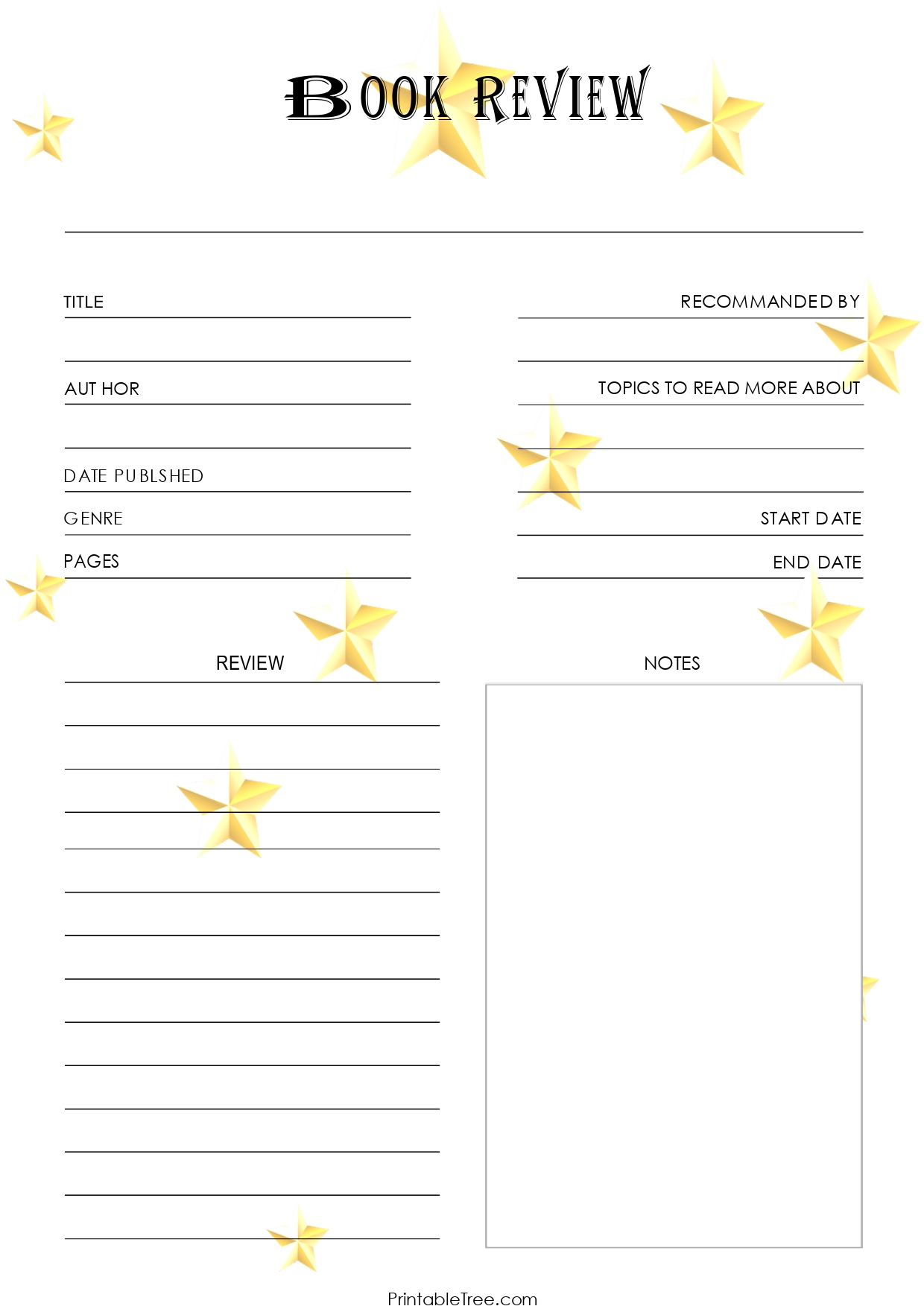 Rating Stars Book Review Template