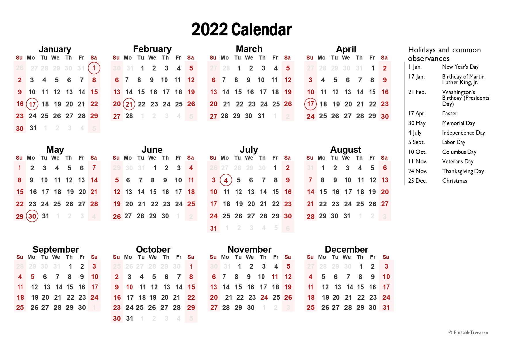 Yearly 2022 calendar with marked federal holidays (US)
