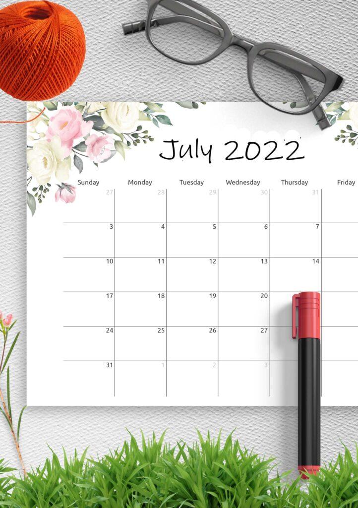 Printable Calendar July 2022 Template