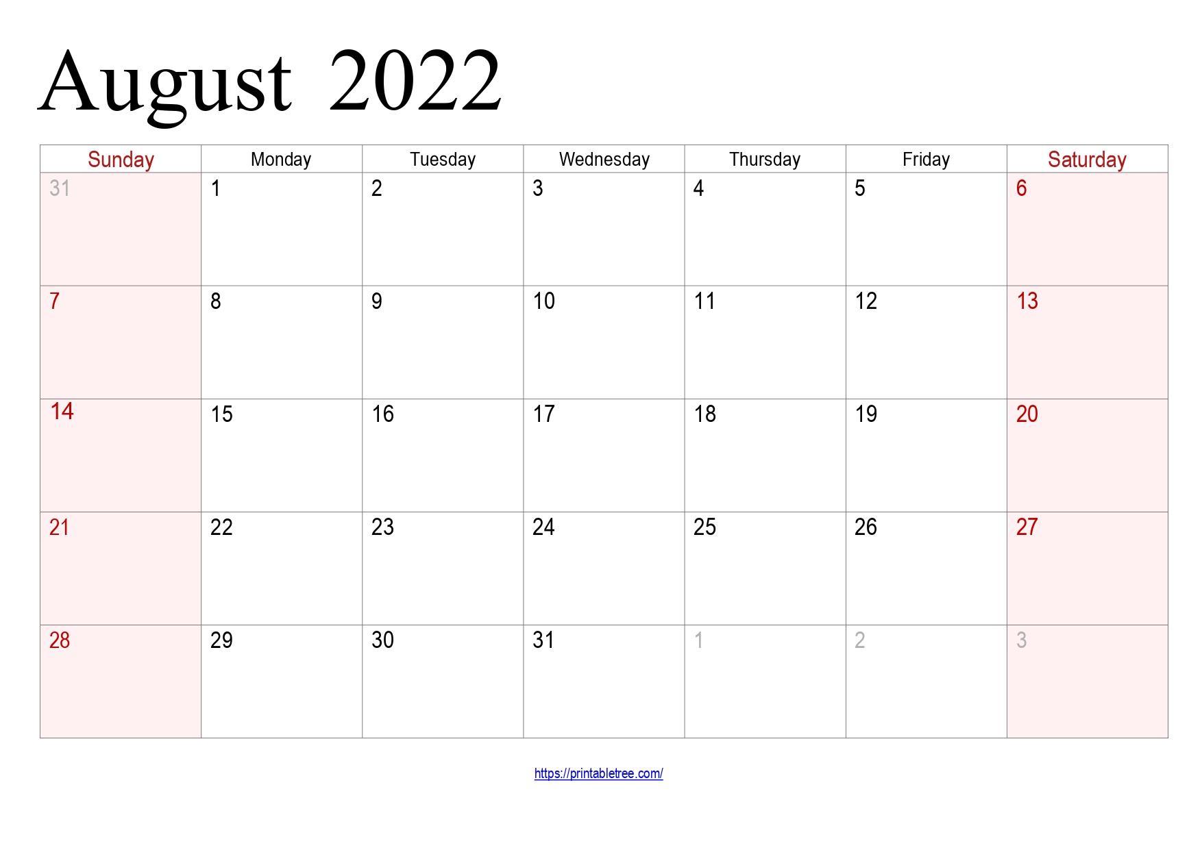 August Calendar 2022 with holidays