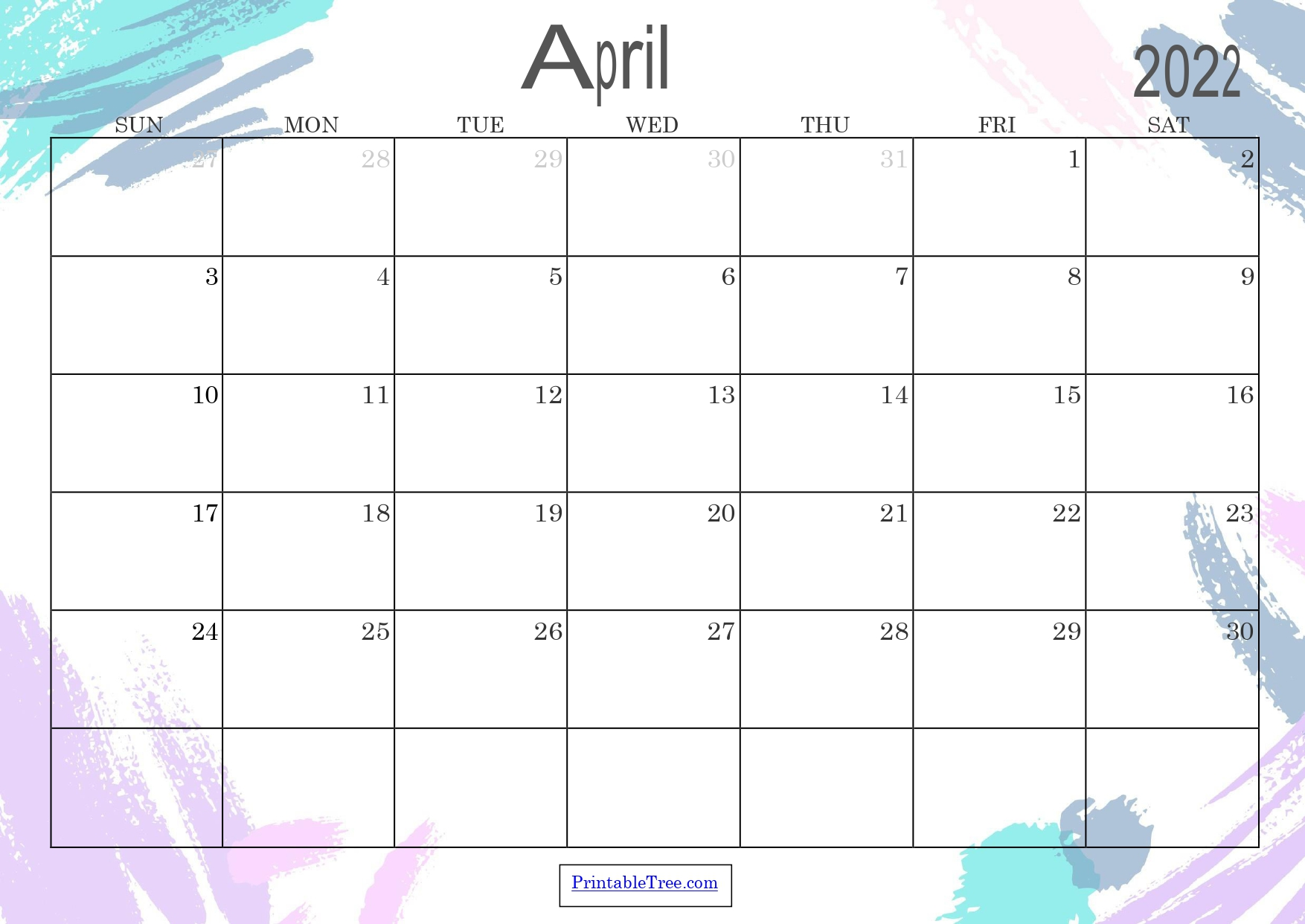 Colored Monthly Calendar April 2022