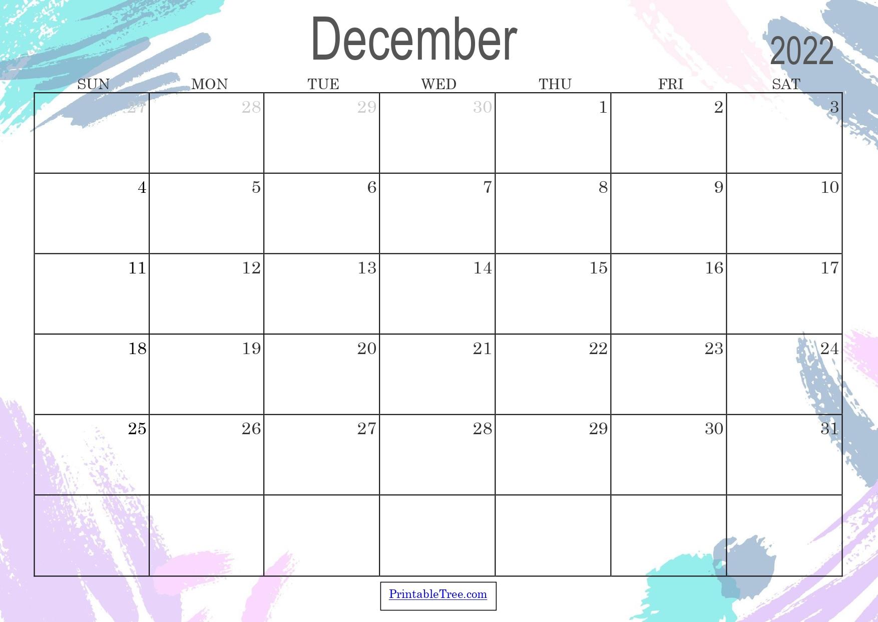 Colored Monthly Calendar December 2022