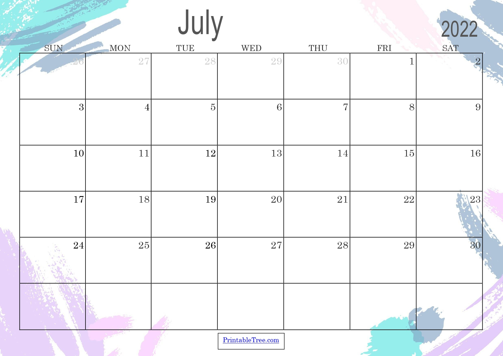 Colored Monthly Calendar July 2022