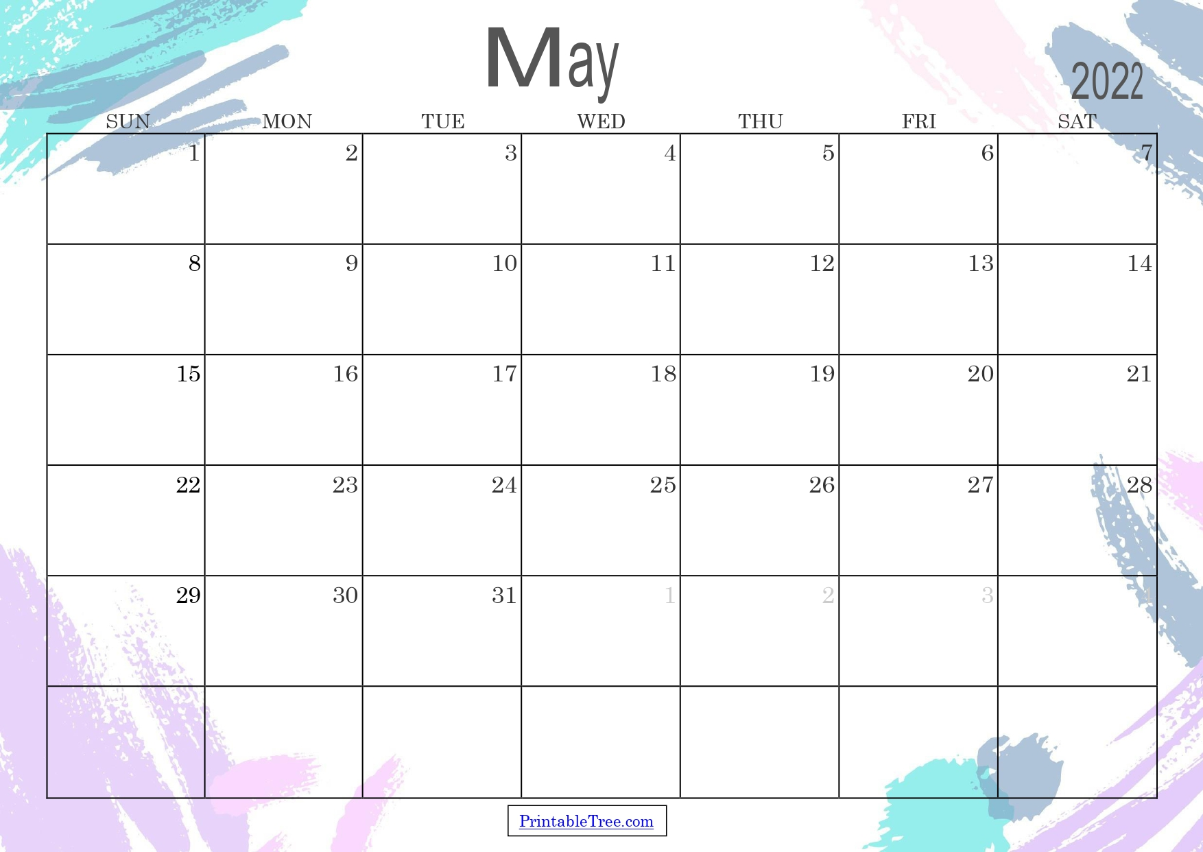Colored Monthly Calendar May 2022