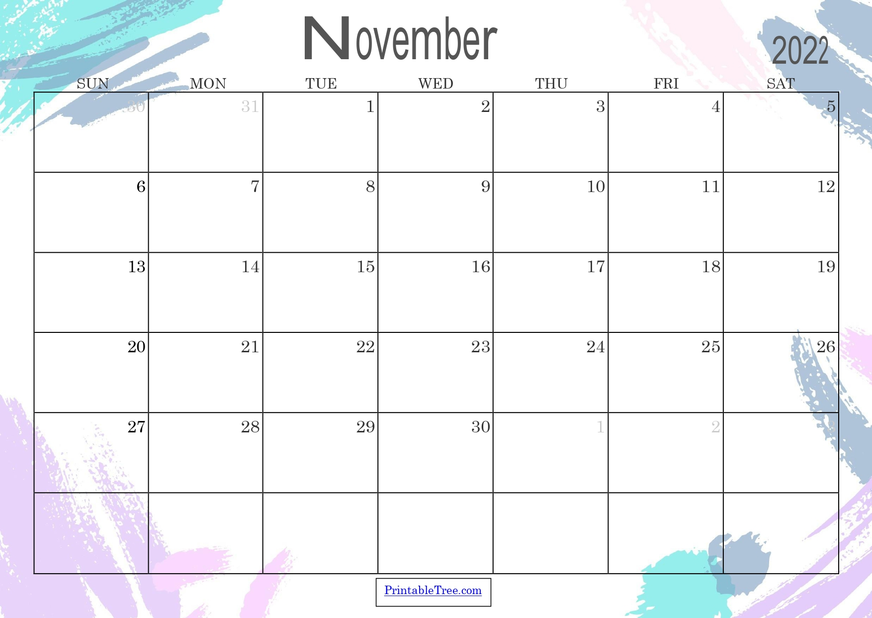 Colored Monthly Calendar November 2022