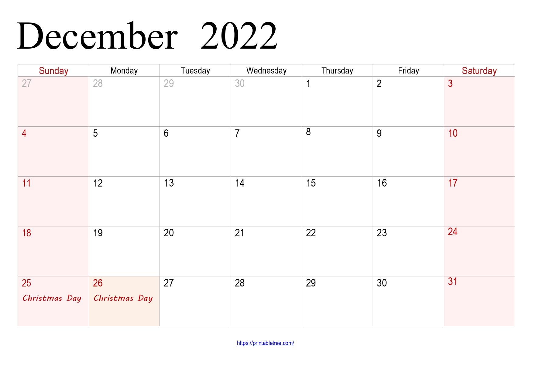 December Calendar 2022 with holidays