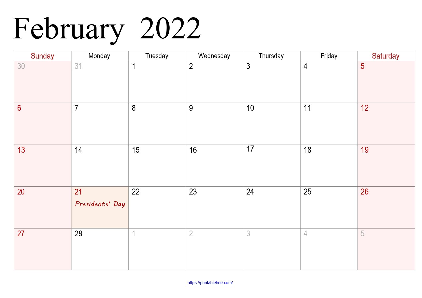 February Calendar 2022 with holidays