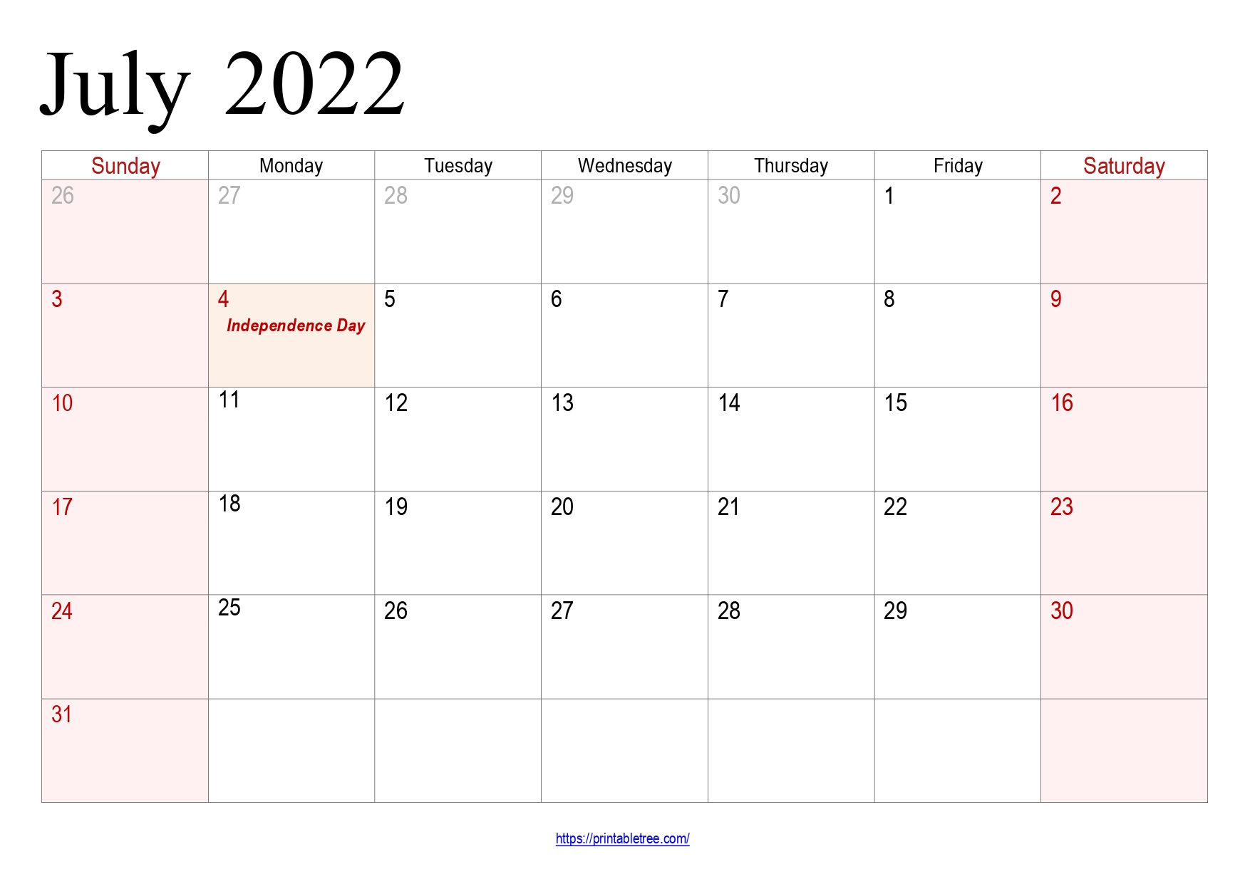 July Calendar 2022 with holidays