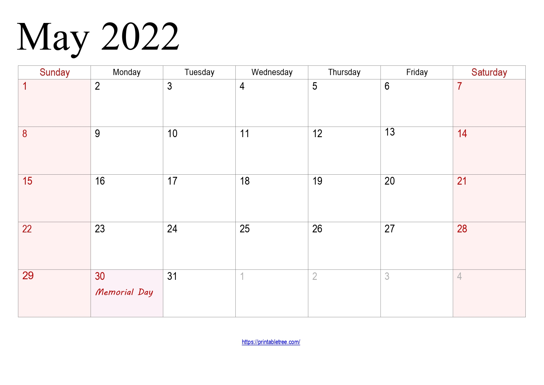 May Calendar 2022 with holidays