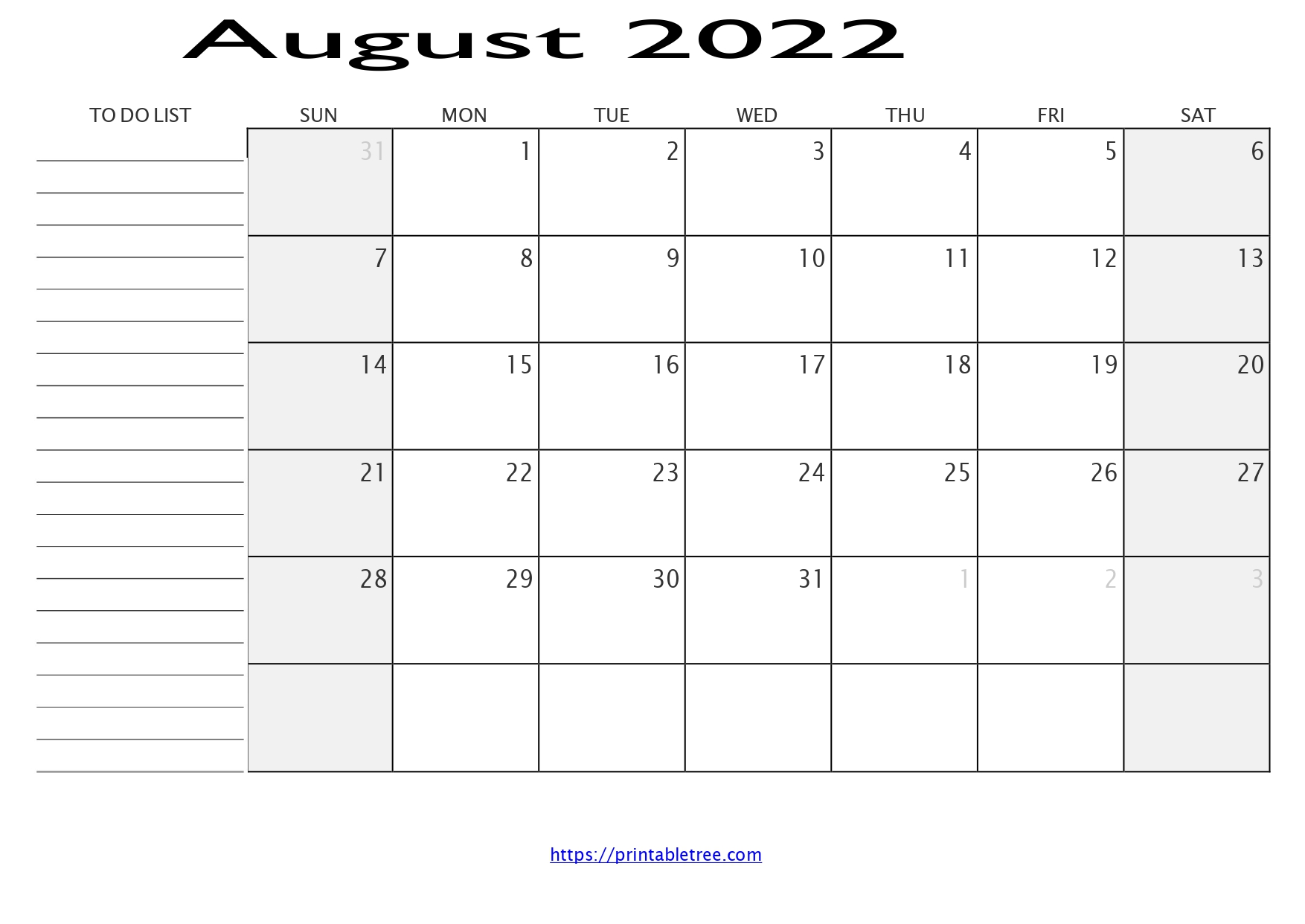 Monthly Calendar with To Do List August 2022