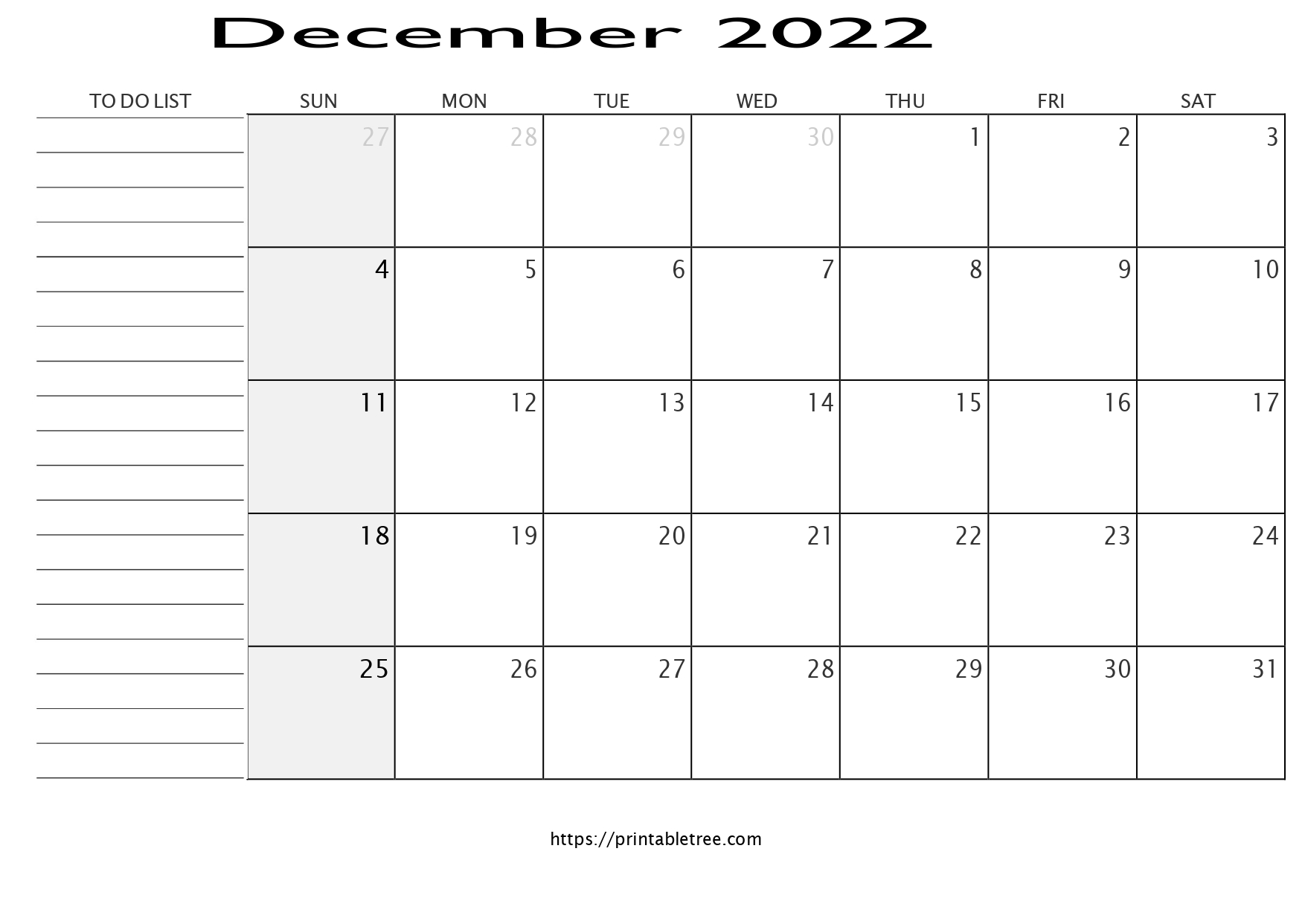 Monthly Calendar with To Do List December 2022