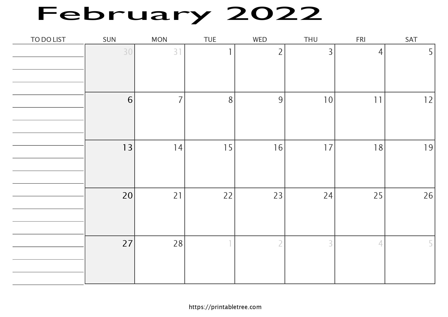 Monthly Calendar with To Do List February 2022