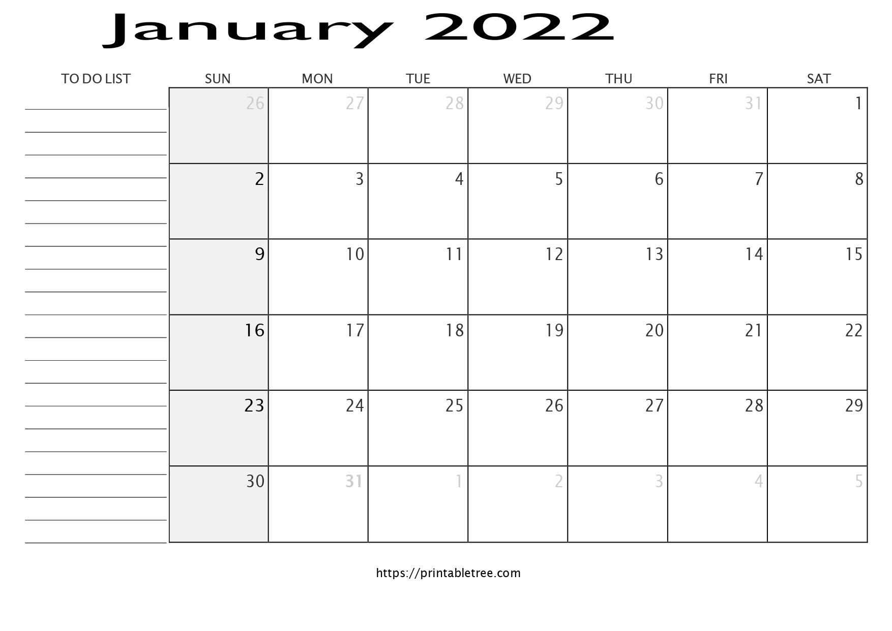 Calendar with To Do List January 2022