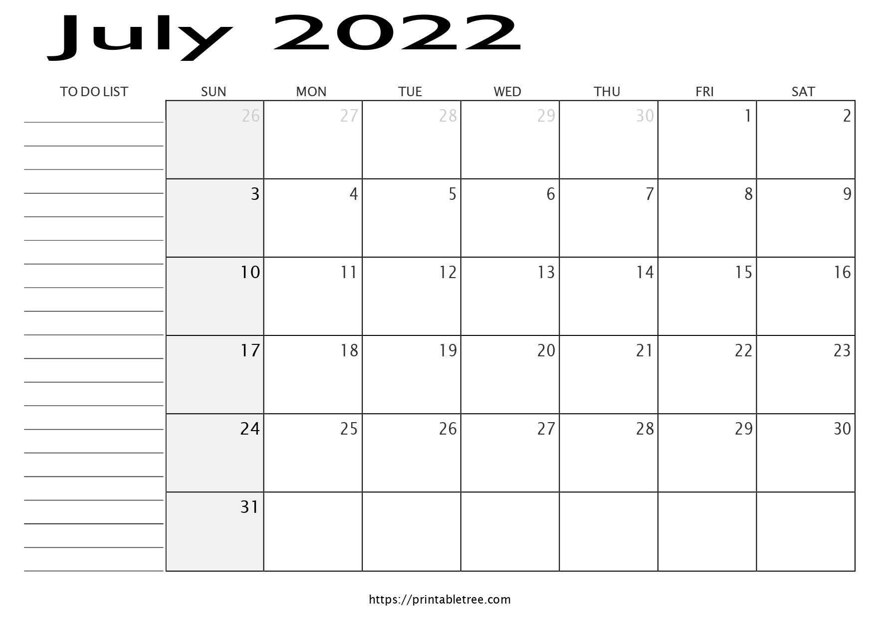 Monthly Calendar with To Do List July 2022