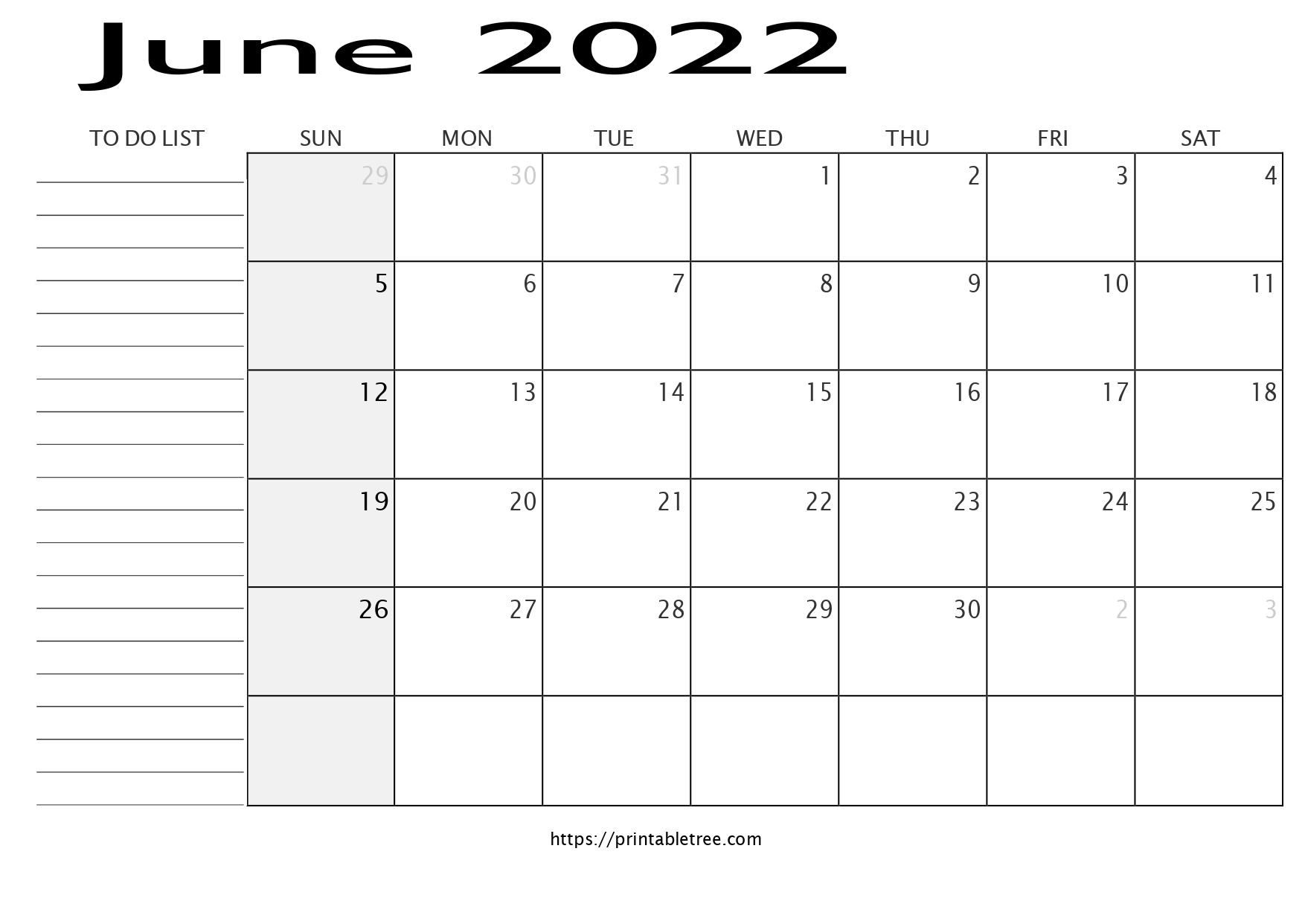 Monthly Calendar with To Do List June 2022