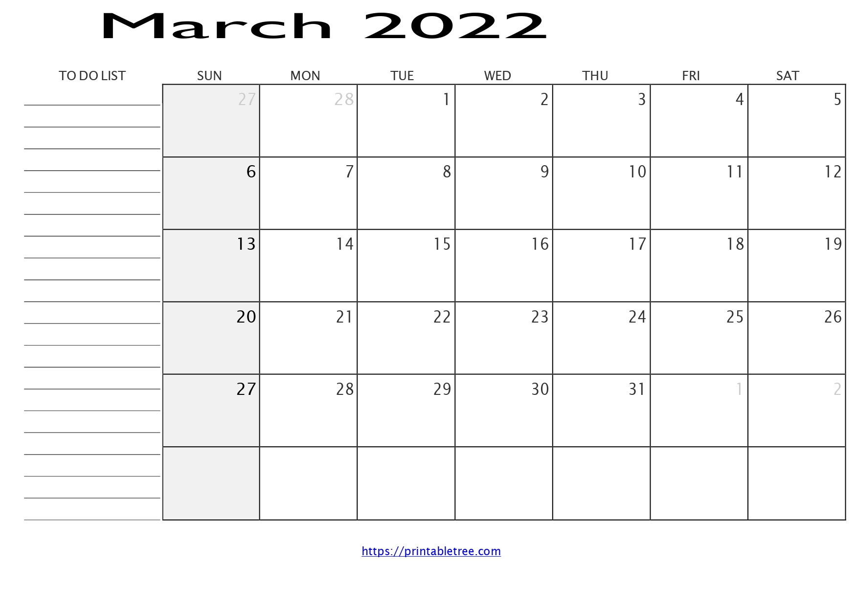 Monthly Calendar with To Do List March 2022