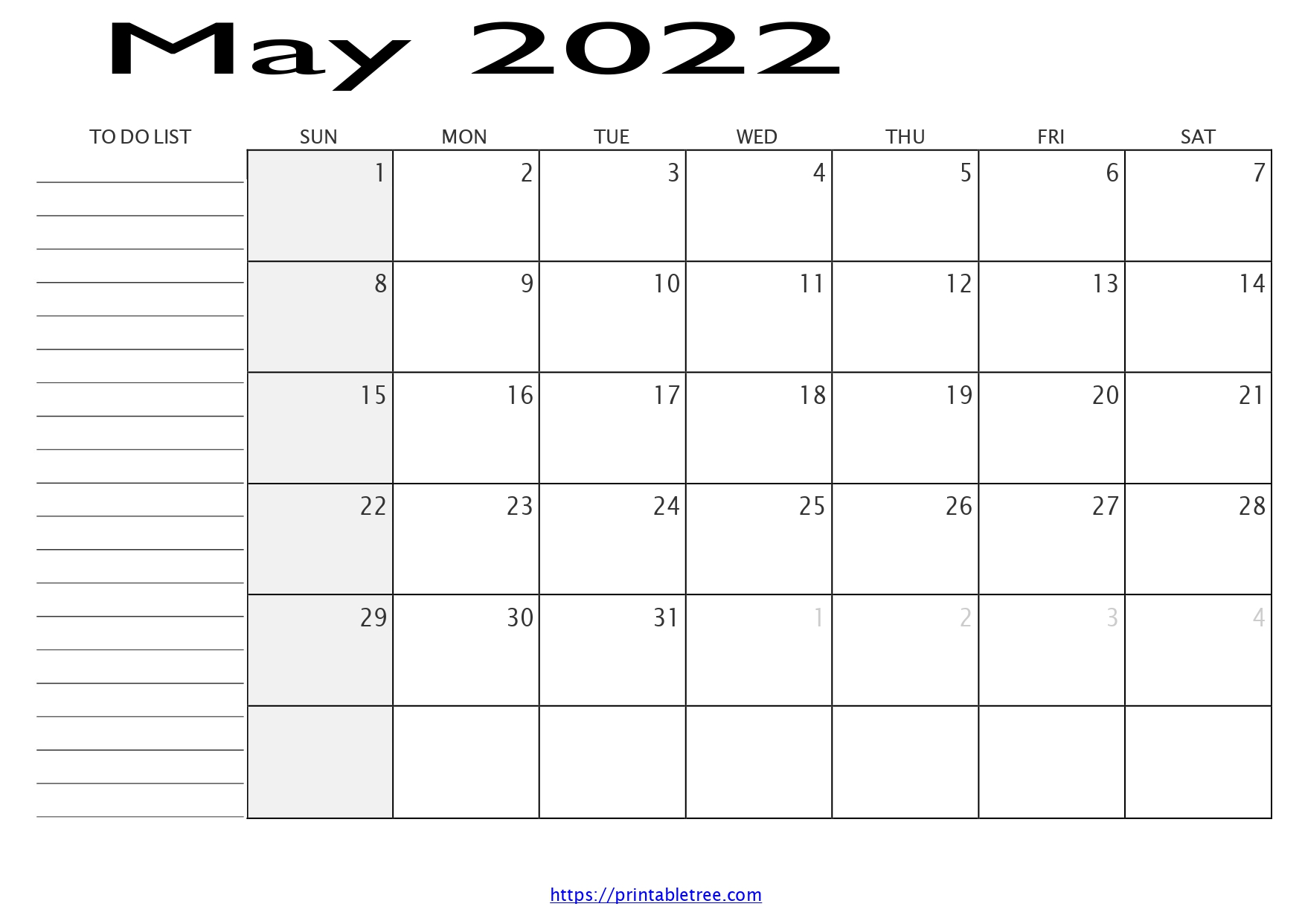 Monthly Calendar with To Do List May 2022