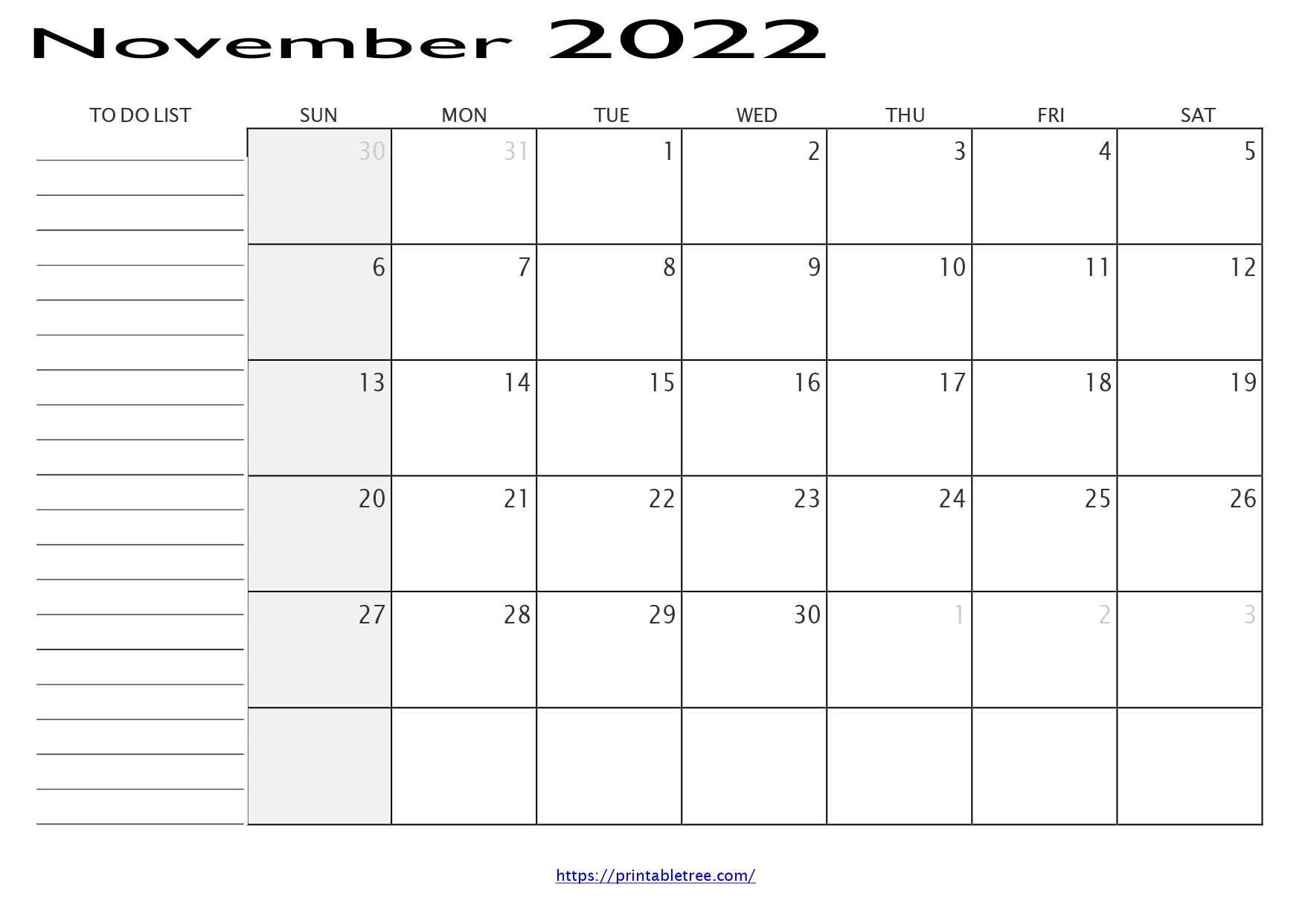 Monthly Calendar with To Do List November 2022