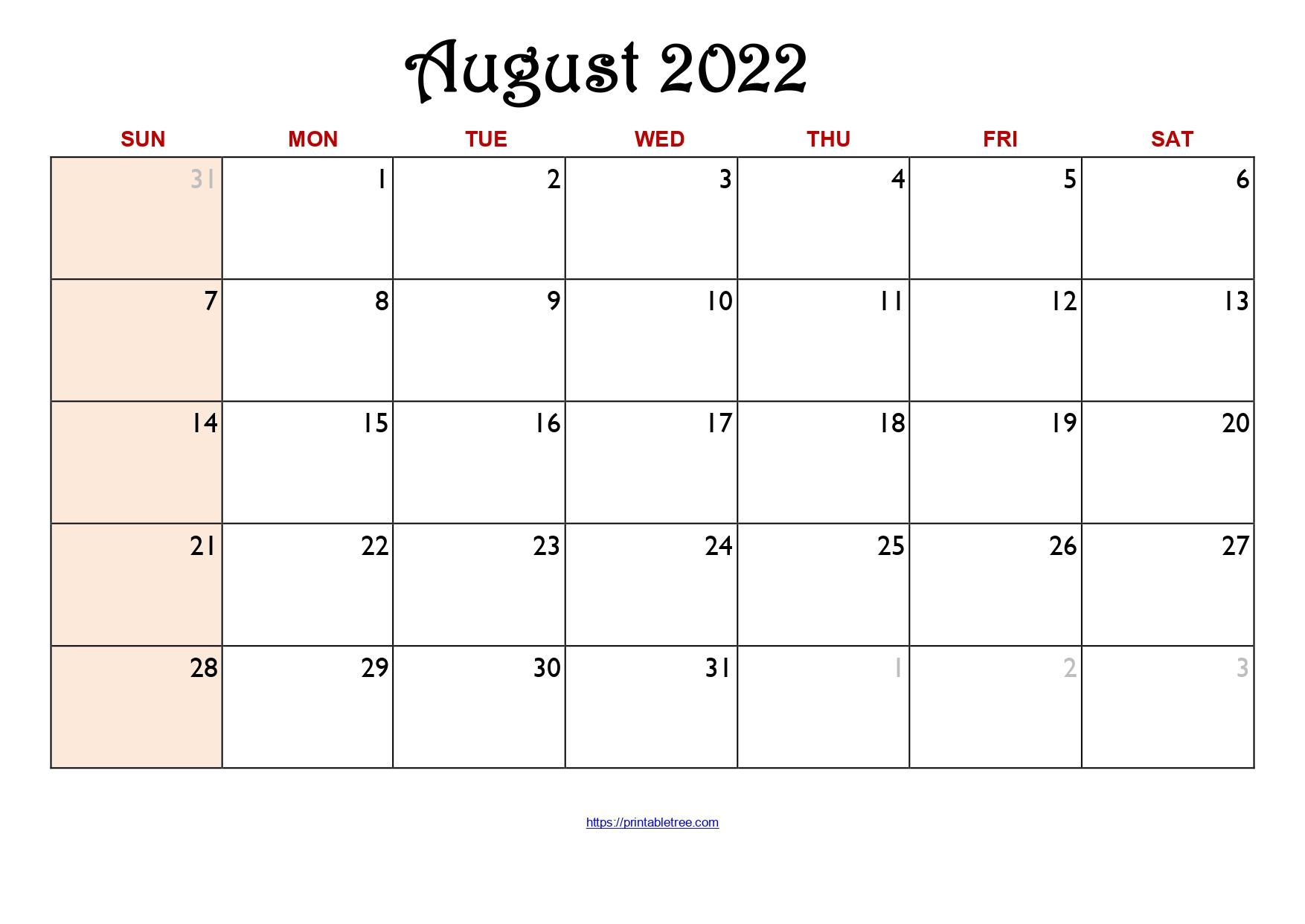 Original Monthly Calendar August 2022