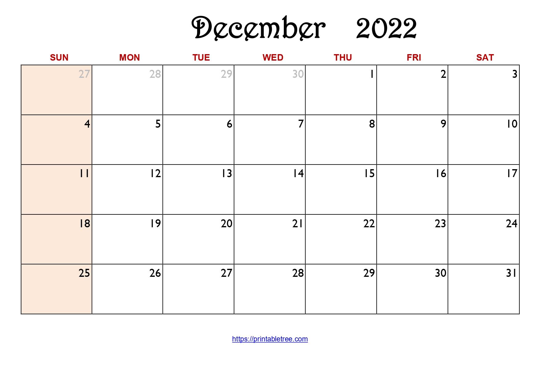 Original Monthly Calendar December 2022