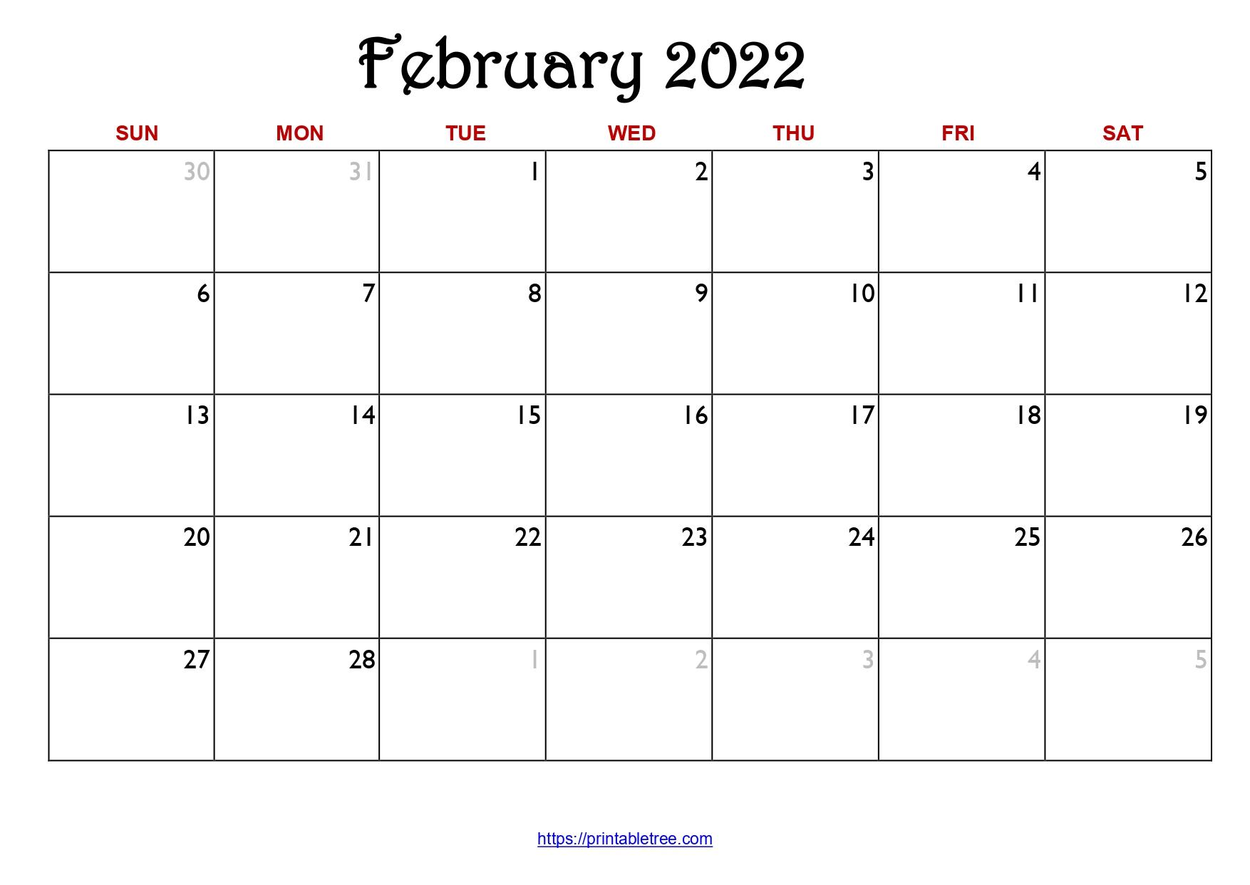 Original Monthly Calendar February 2022