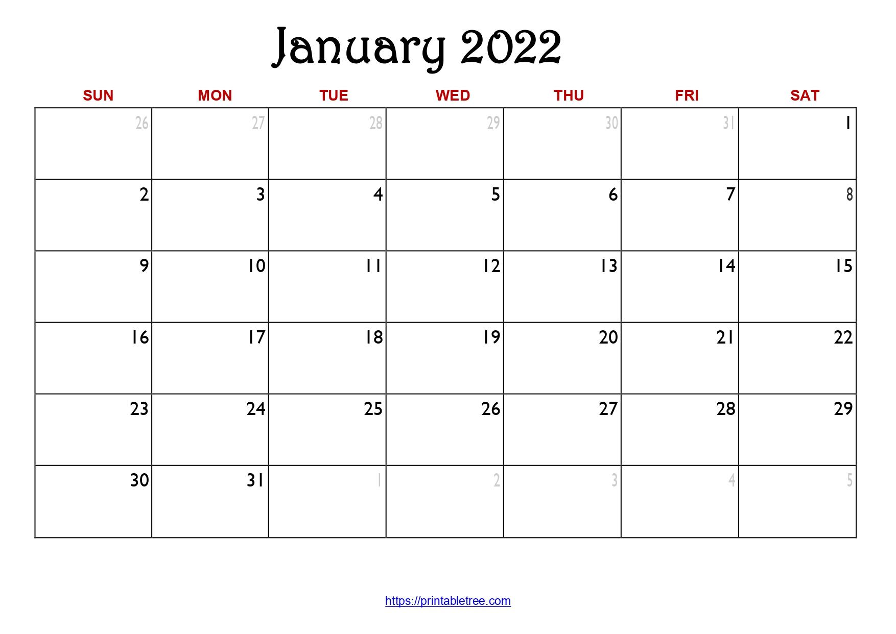Original Monthly Calendar January 2022