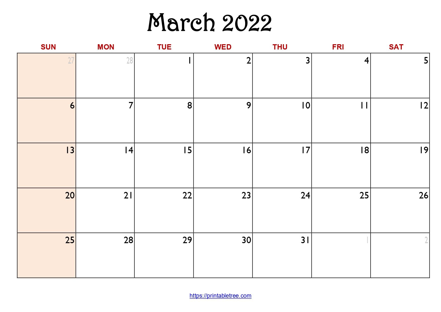 Original Monthly Calendar March 2022