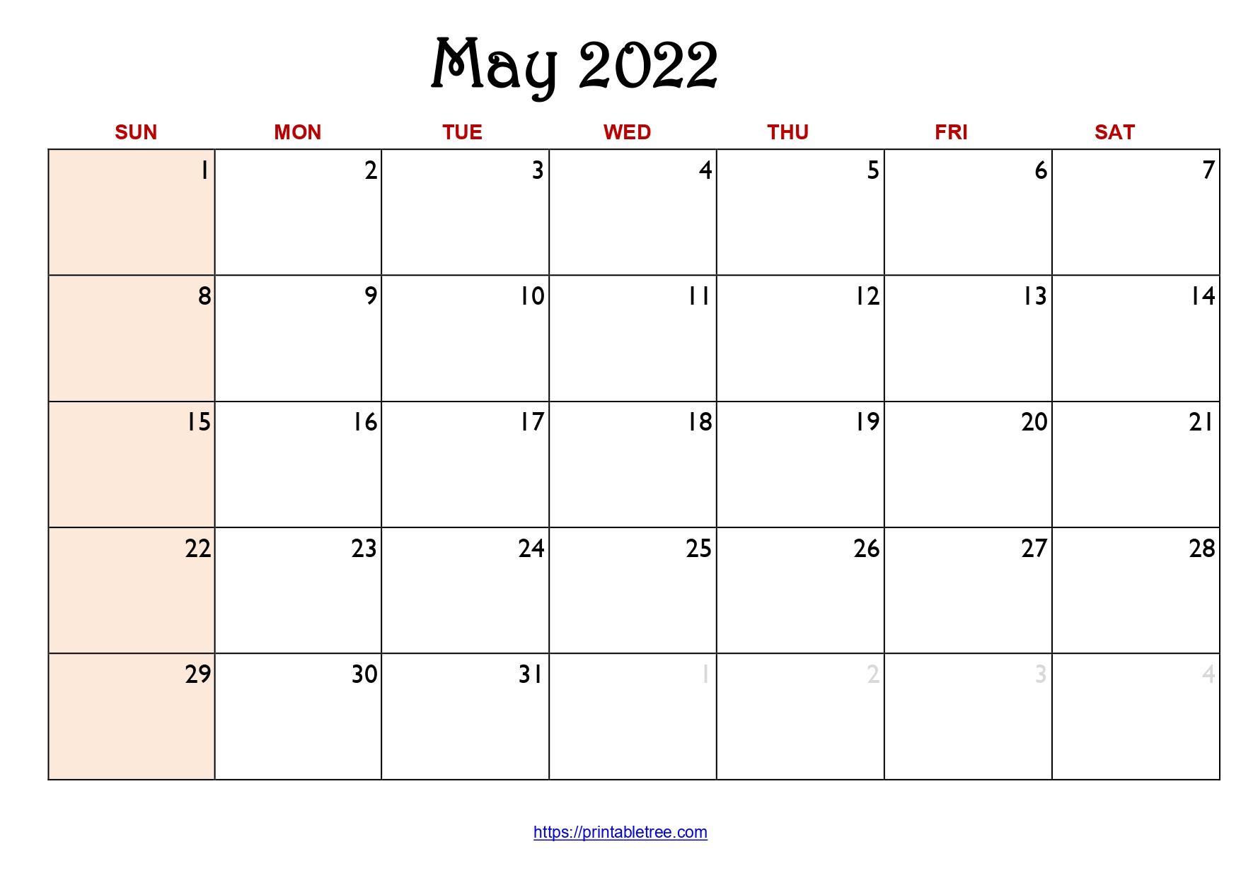 Original Monthly Calendar May 2022