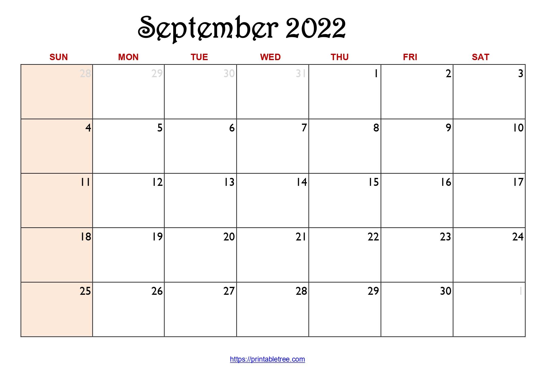 Original Monthly Calendar September 2022
